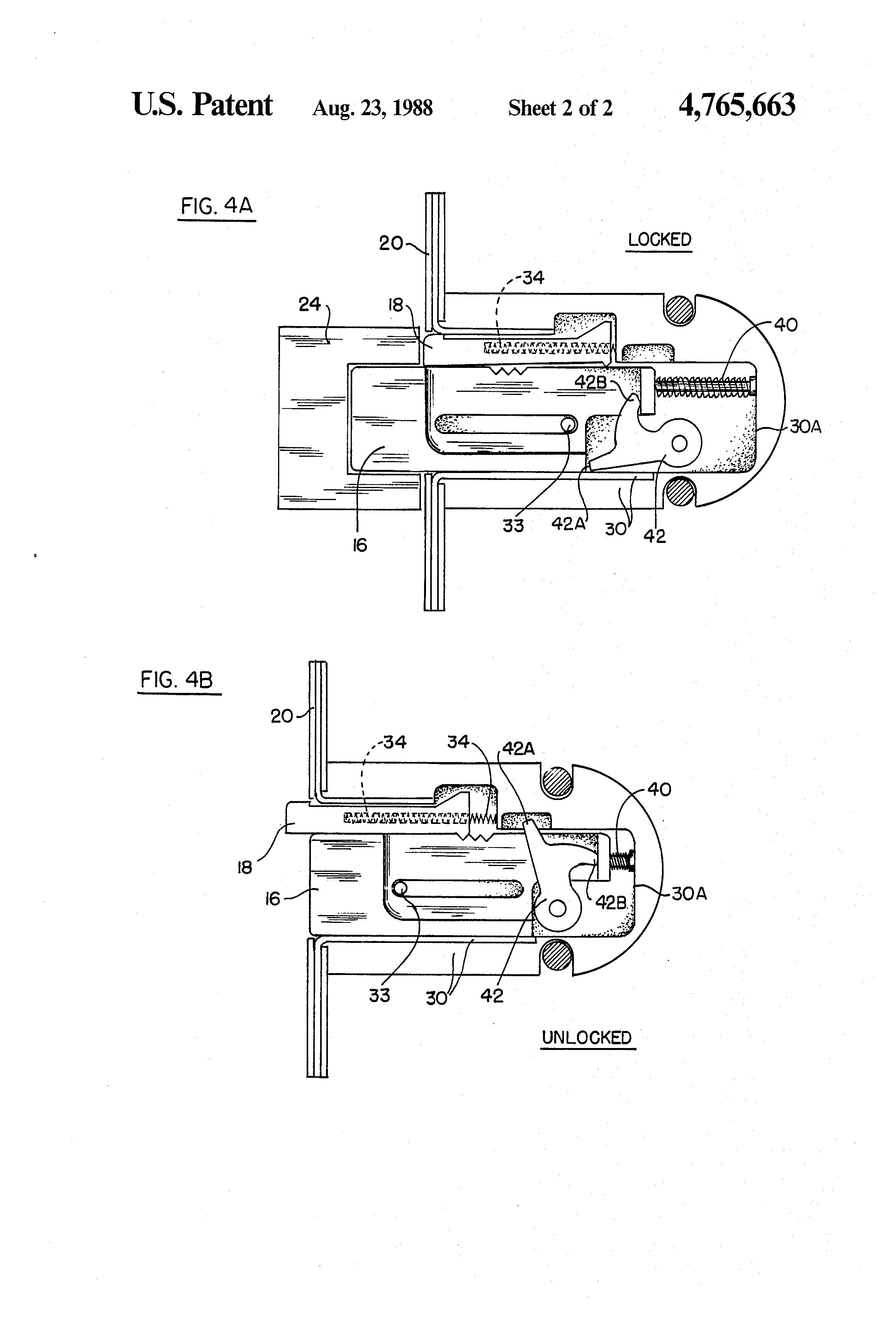 Patent Us4765663 Spring Loaded Dead Bolt Assembly