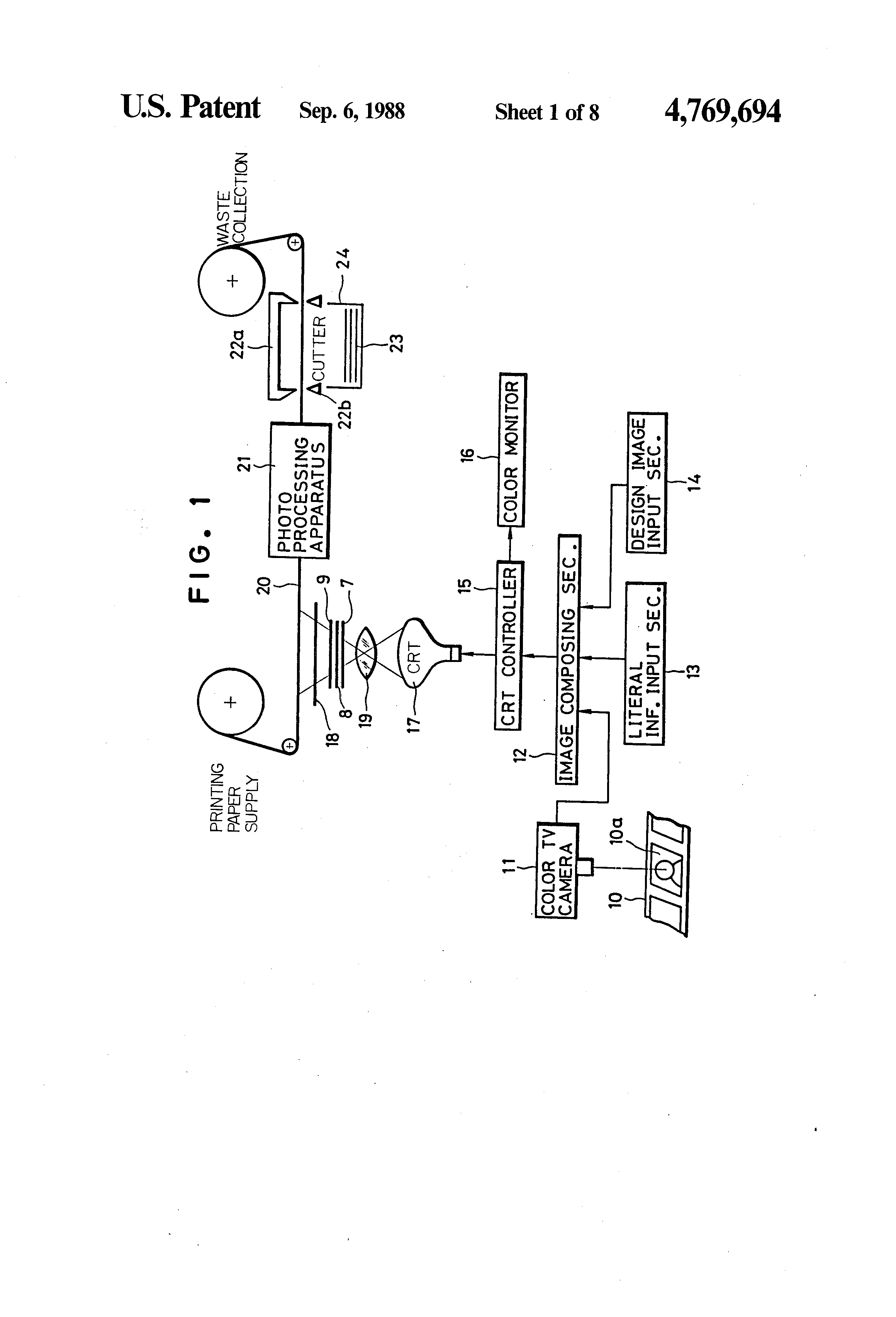 Patent Us4769694 Method Of Printing A Composite Image Human Crt Screen Schematic Drawing