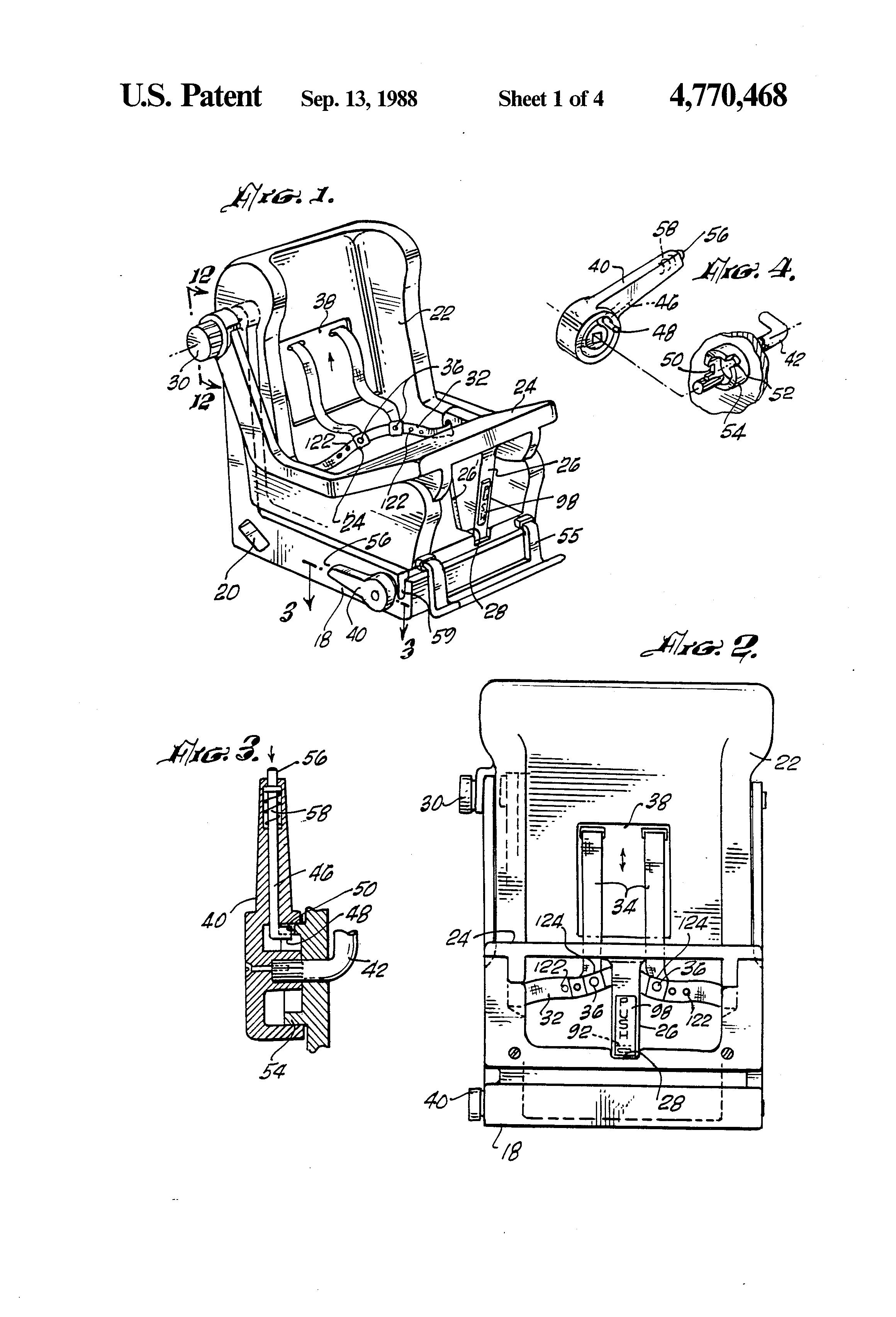 Patent US4770468 - Child safety car seat - Google Patents
