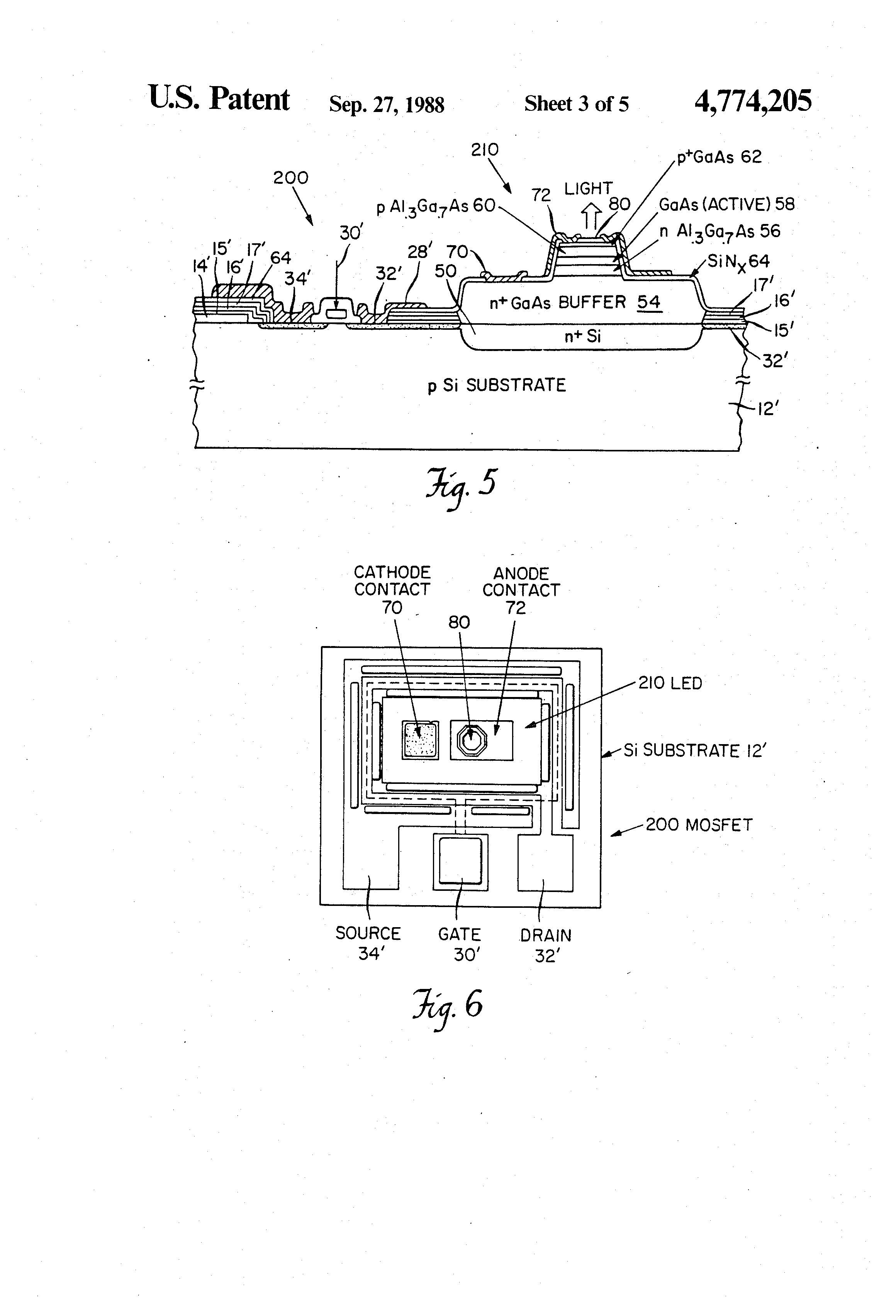 Patent Us4774205 Monolithic Integration Of Silicon And Gallium Arsenide Gaas Doping Process Drawing