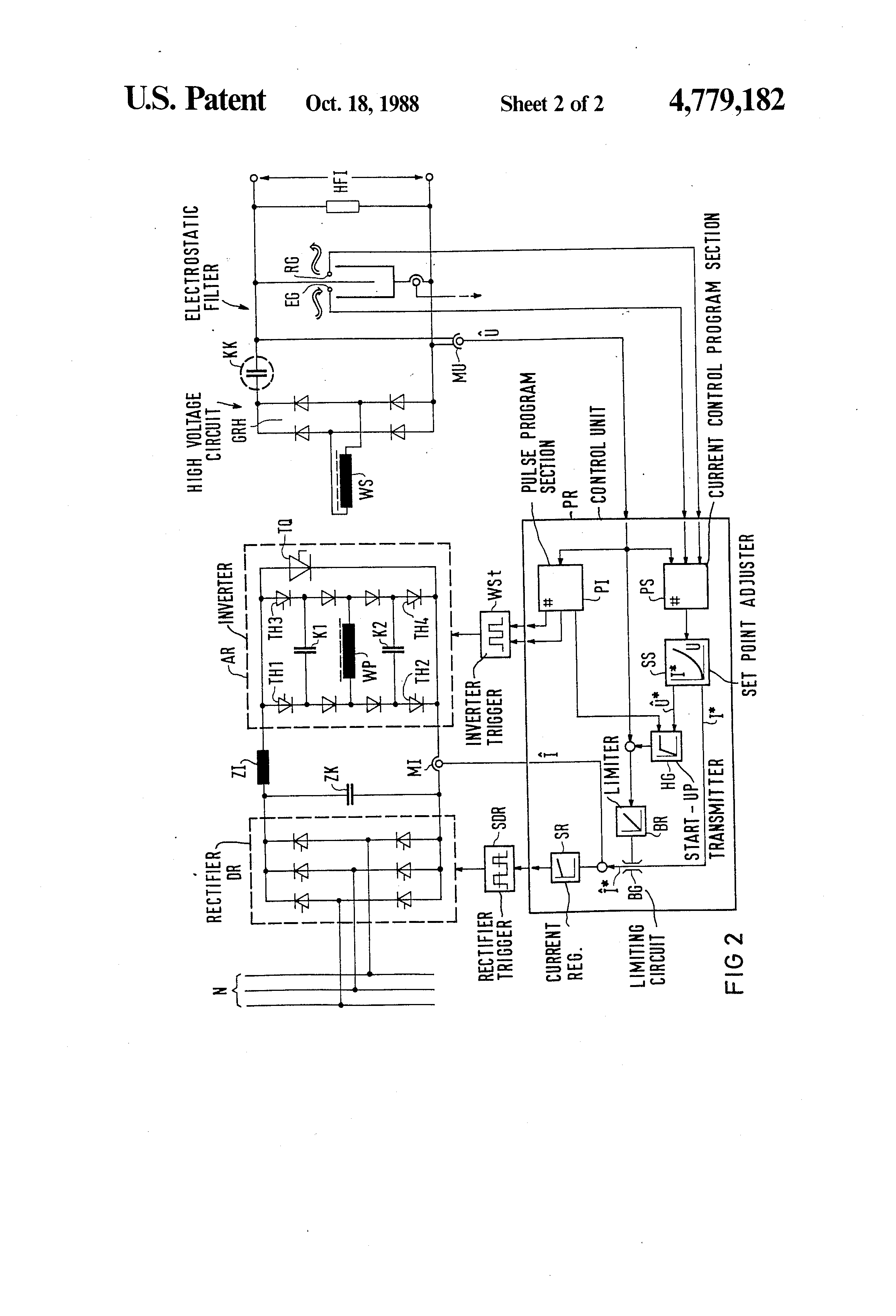 Patent Us4779182 Power Supply For An Electrostatic Filter Google L Circuit Diagram Drawing