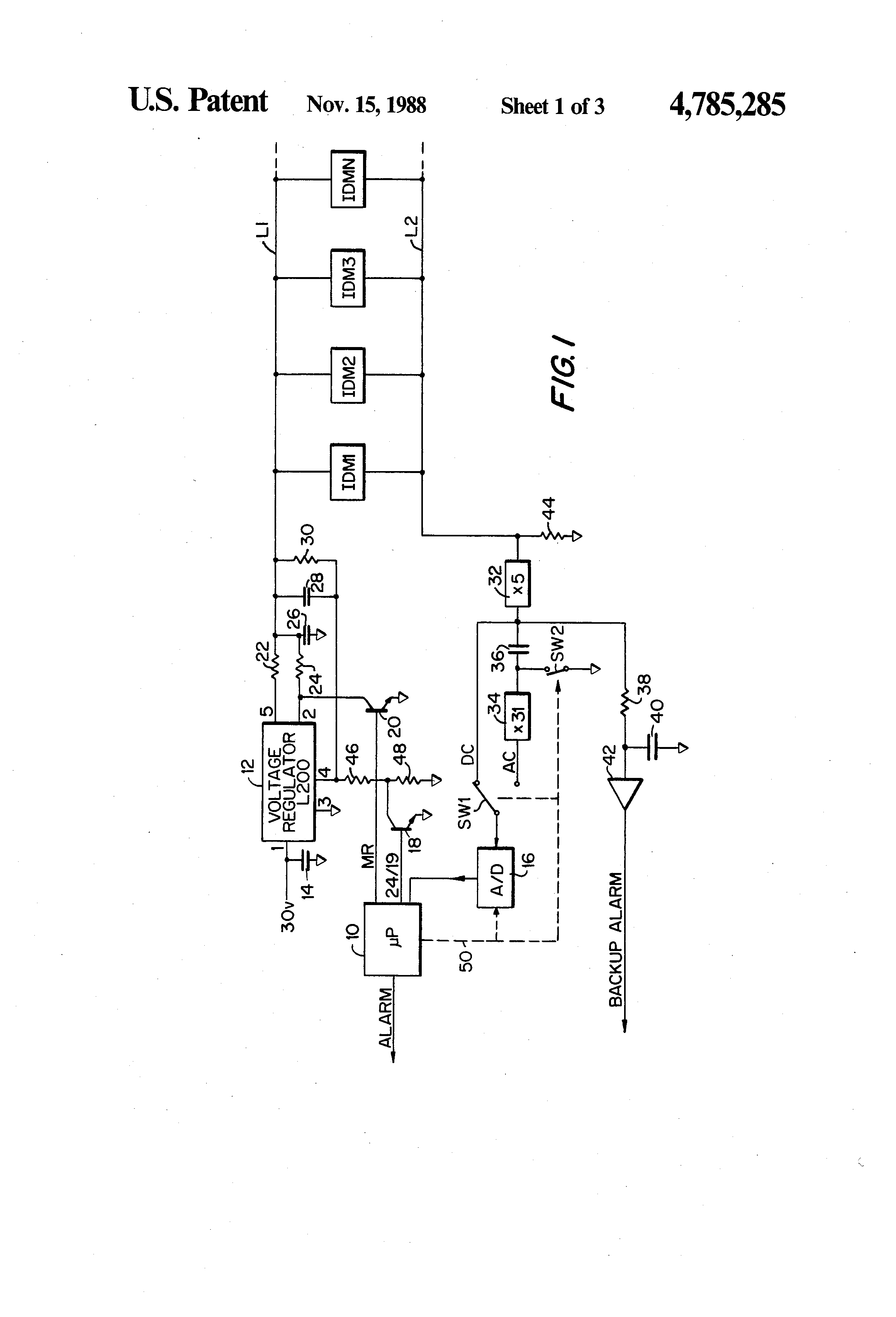 Patent Us4785285 Parallel Bus Alarm System Google Patentsuche Variable Voltage Regulator Circuit With L200 Drawing