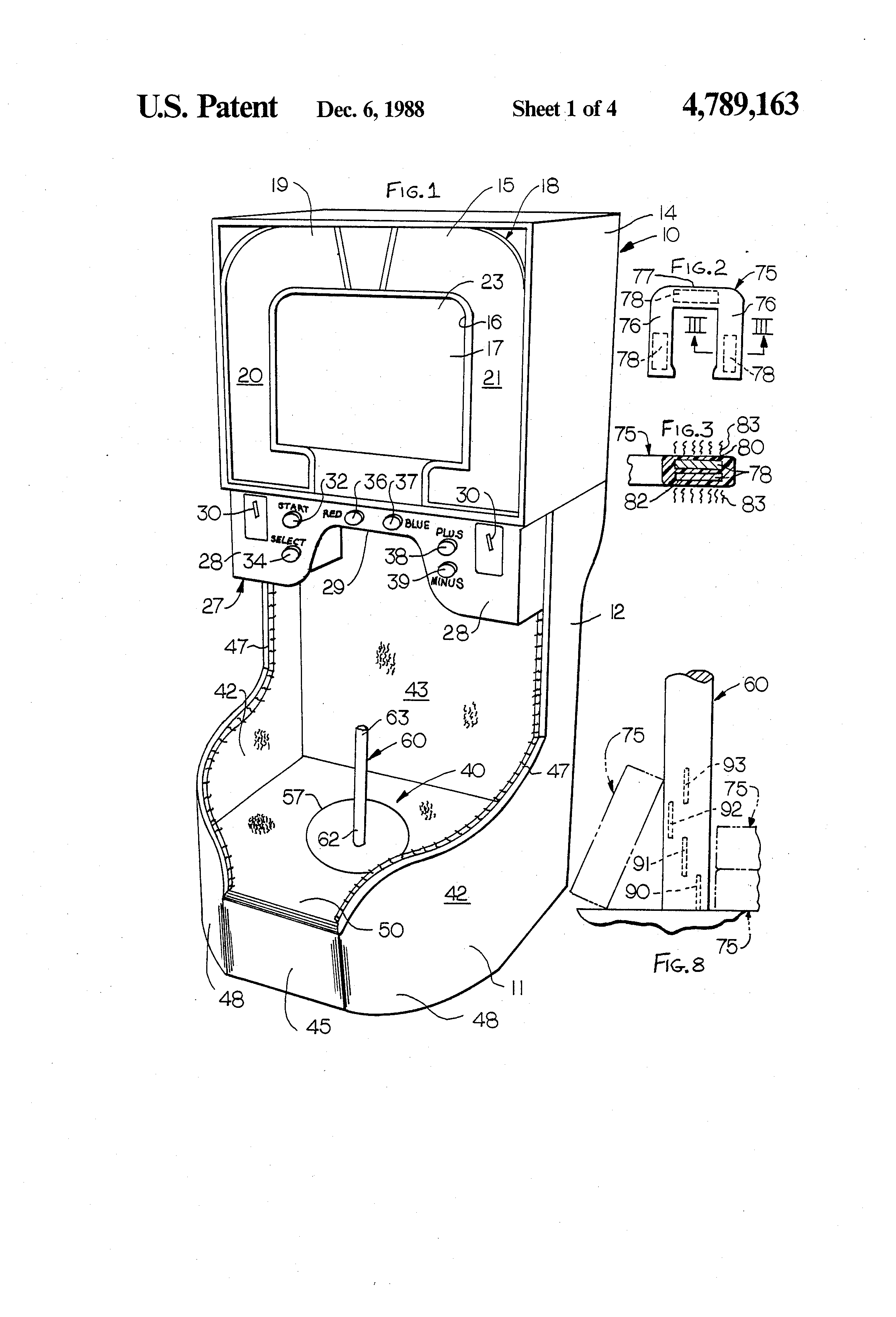 patent us4789163 - indoor horseshoe pitching game