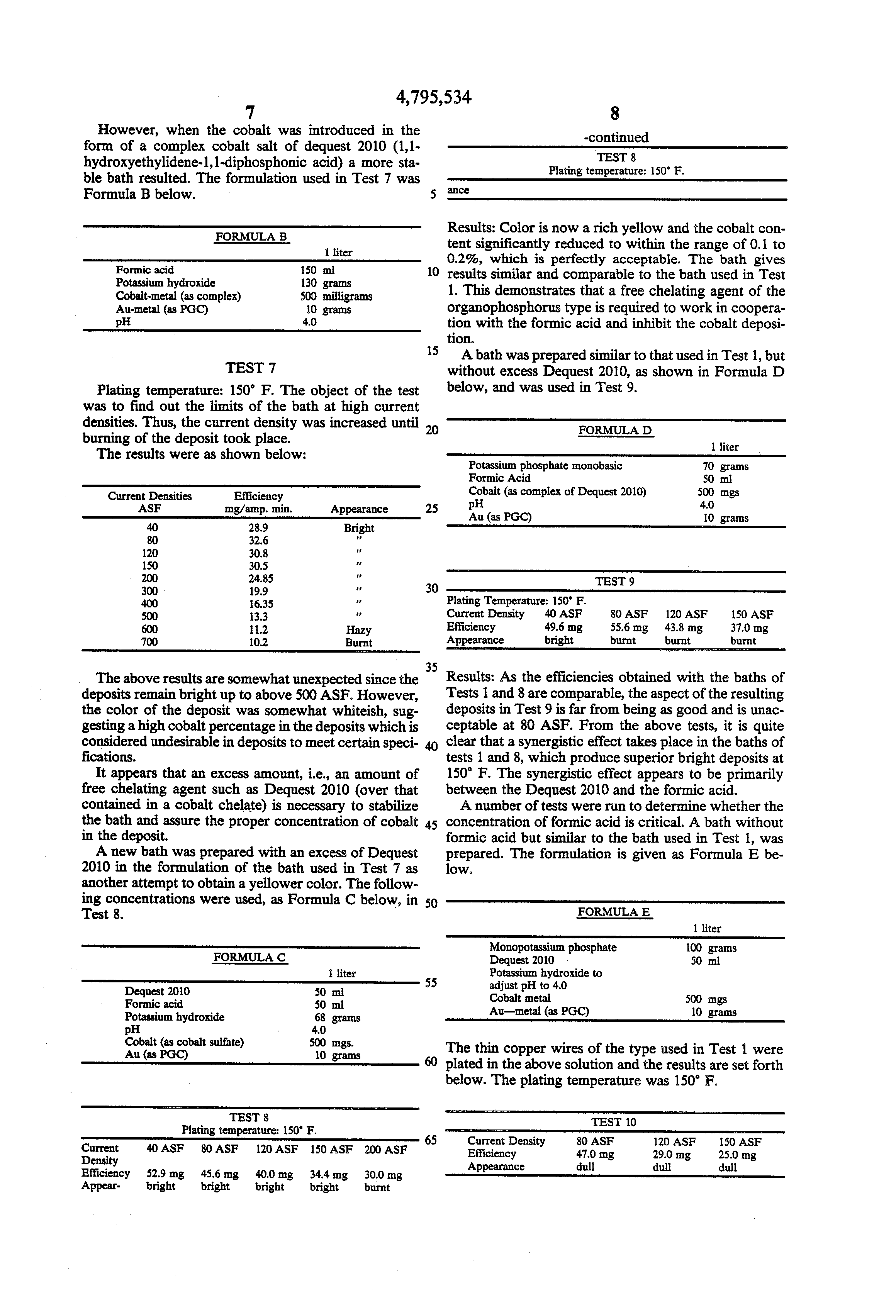 Brevet US4795534 - Electrolyte solution and process for gold