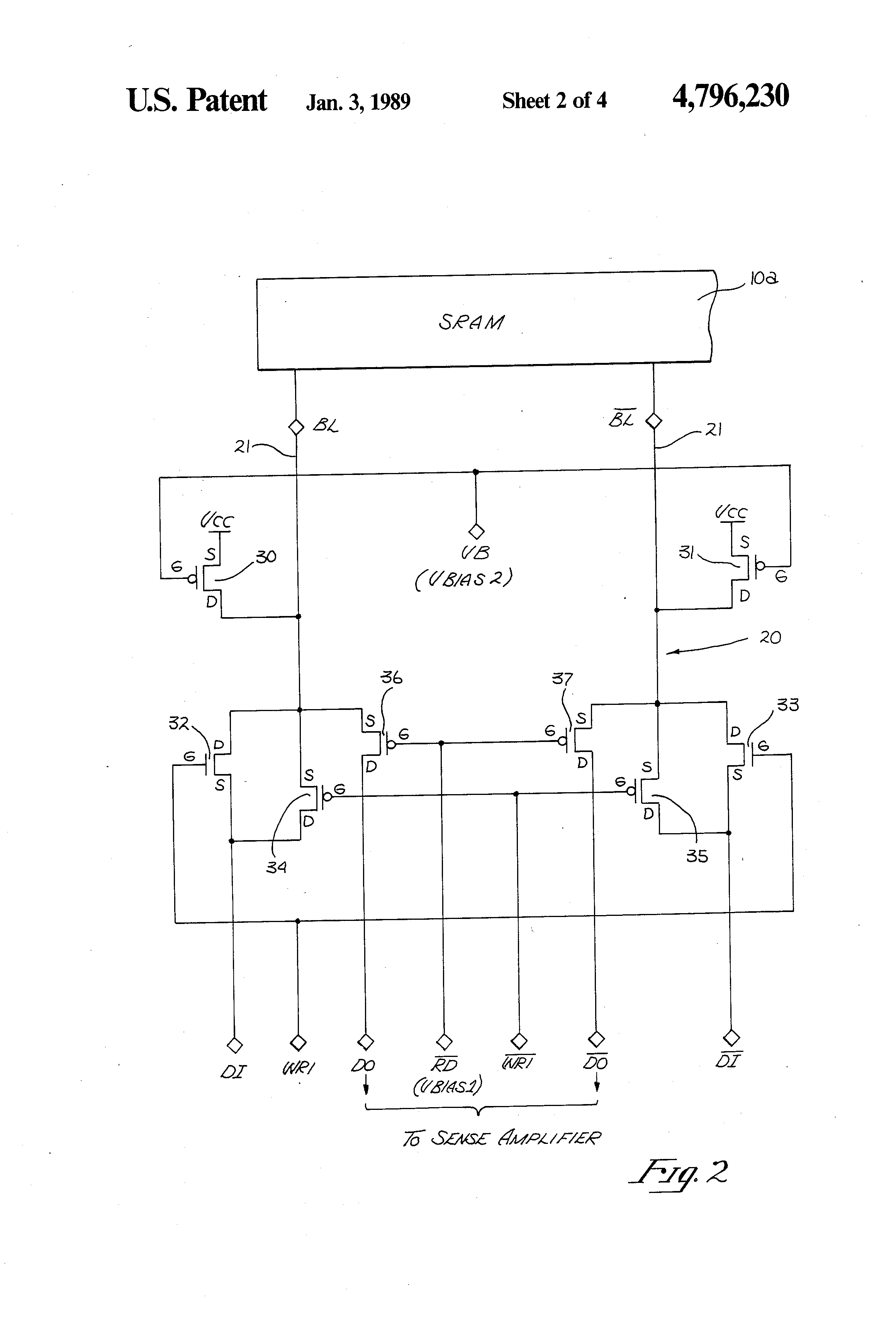 Patent Us4796230 Folded Cascode Configured Differential Current Circuit And Driver Drawing