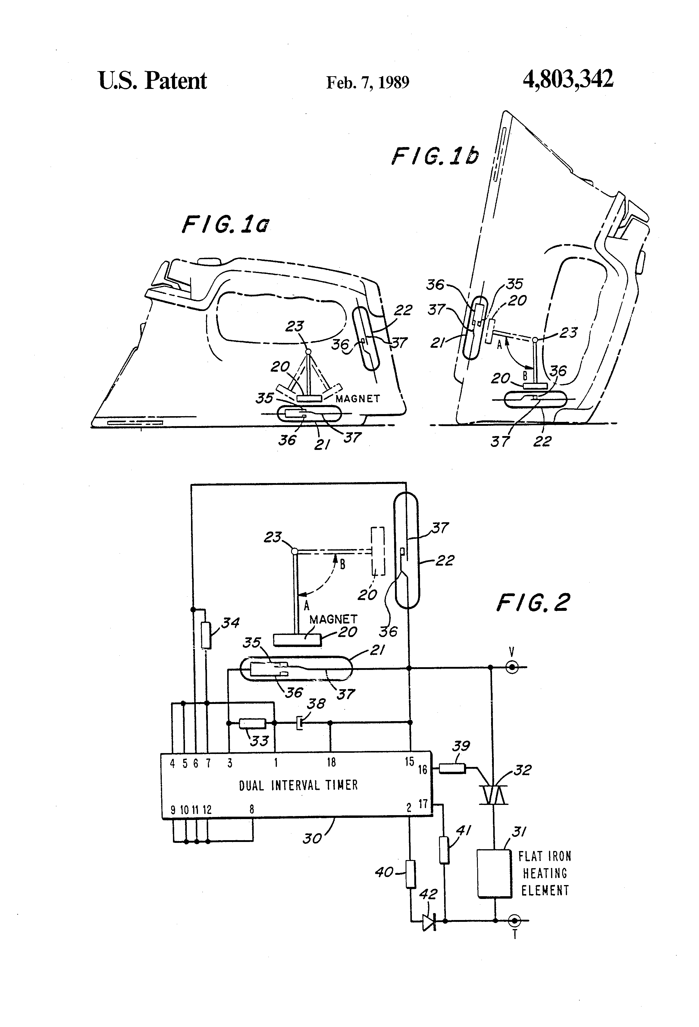 patent us4803342 flat iron safety device utilizing a. Black Bedroom Furniture Sets. Home Design Ideas