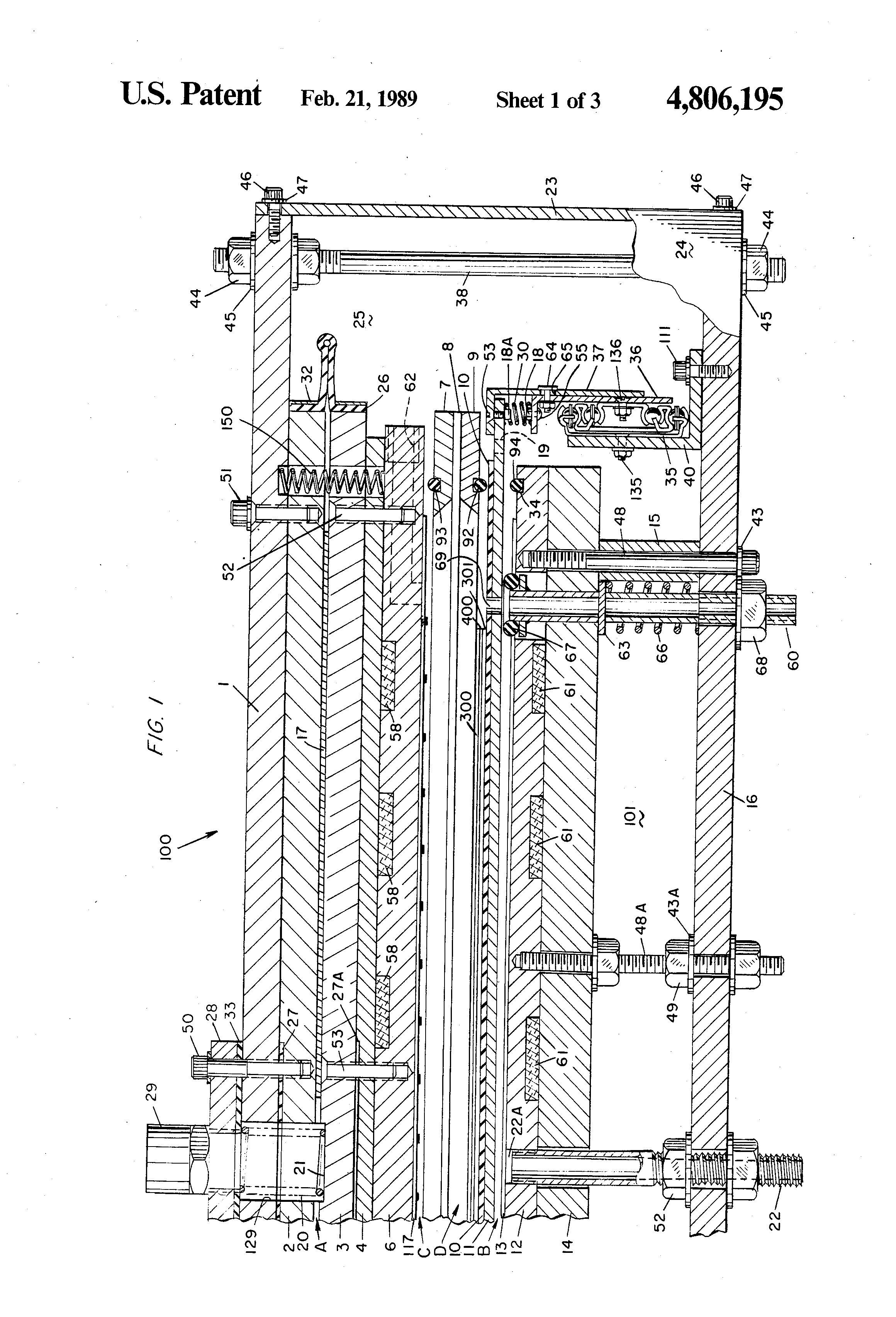 patent us4806195 - printed circuit board laminating machine