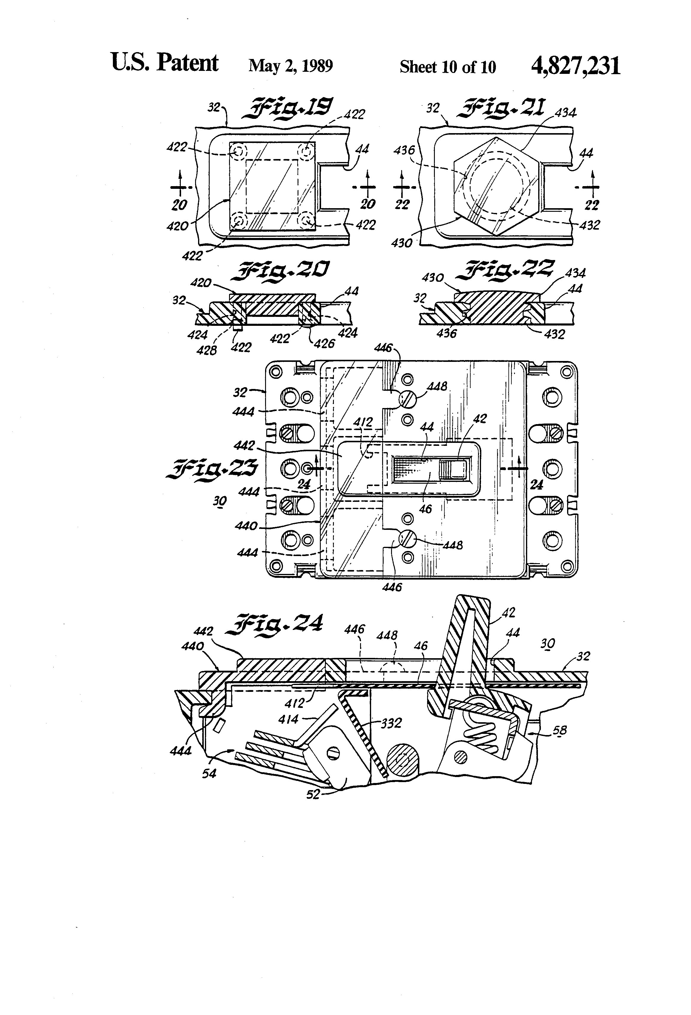 Patent Us4827231 Molded Case Circuit Breaker With Viewing Window Thermalmagnetic Trip Latch Operation A Normal B Drawing