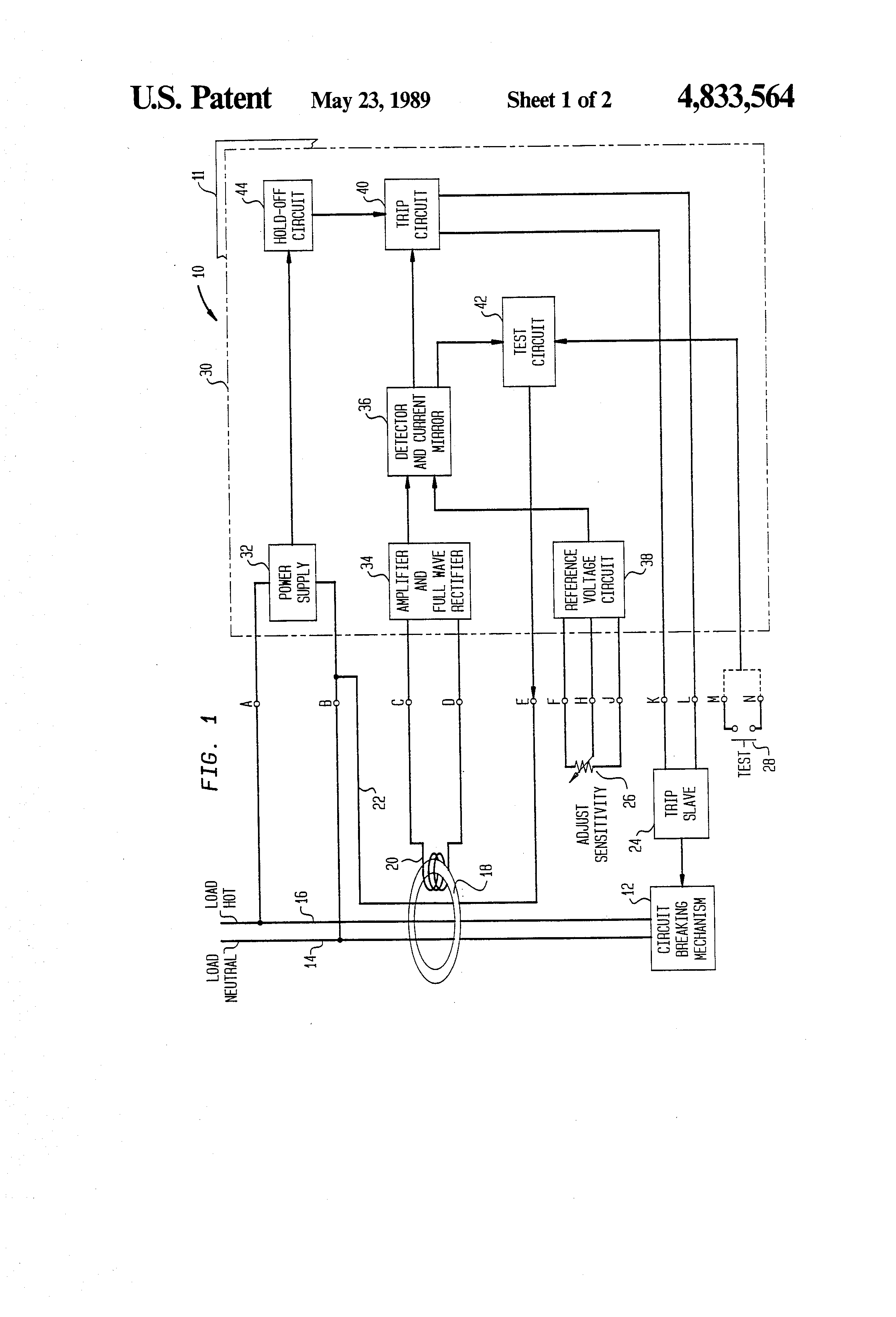 Brevet Us4833564 Current Sensing Relay Circuit With Adjustable Eaton Patent Drawing