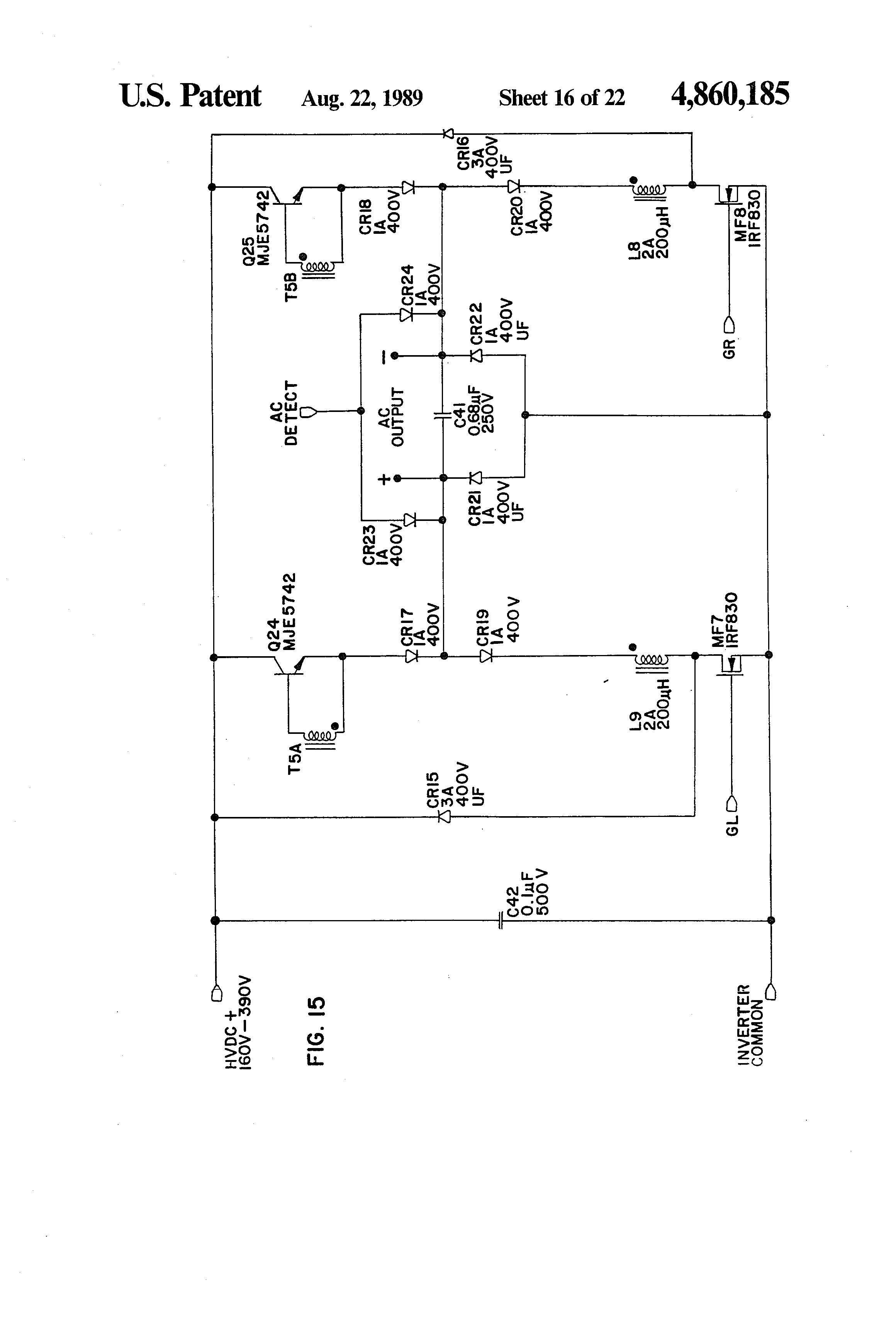 Patent Us4860185 Integrated Uninterruptible Power Supply For Linear Acdc With Transformer Rectifier Smoother And Drawing