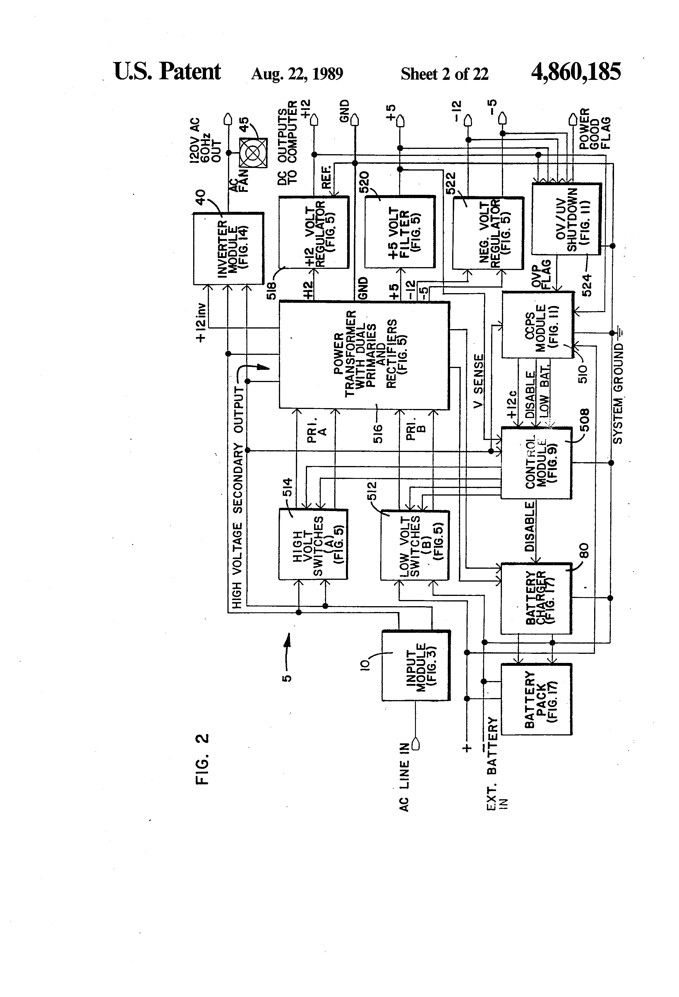Patent Us4860185 Integrated Uninterruptible Power Supply For Rc Reset Circuit Diagram Powersupplycircuit Drawing