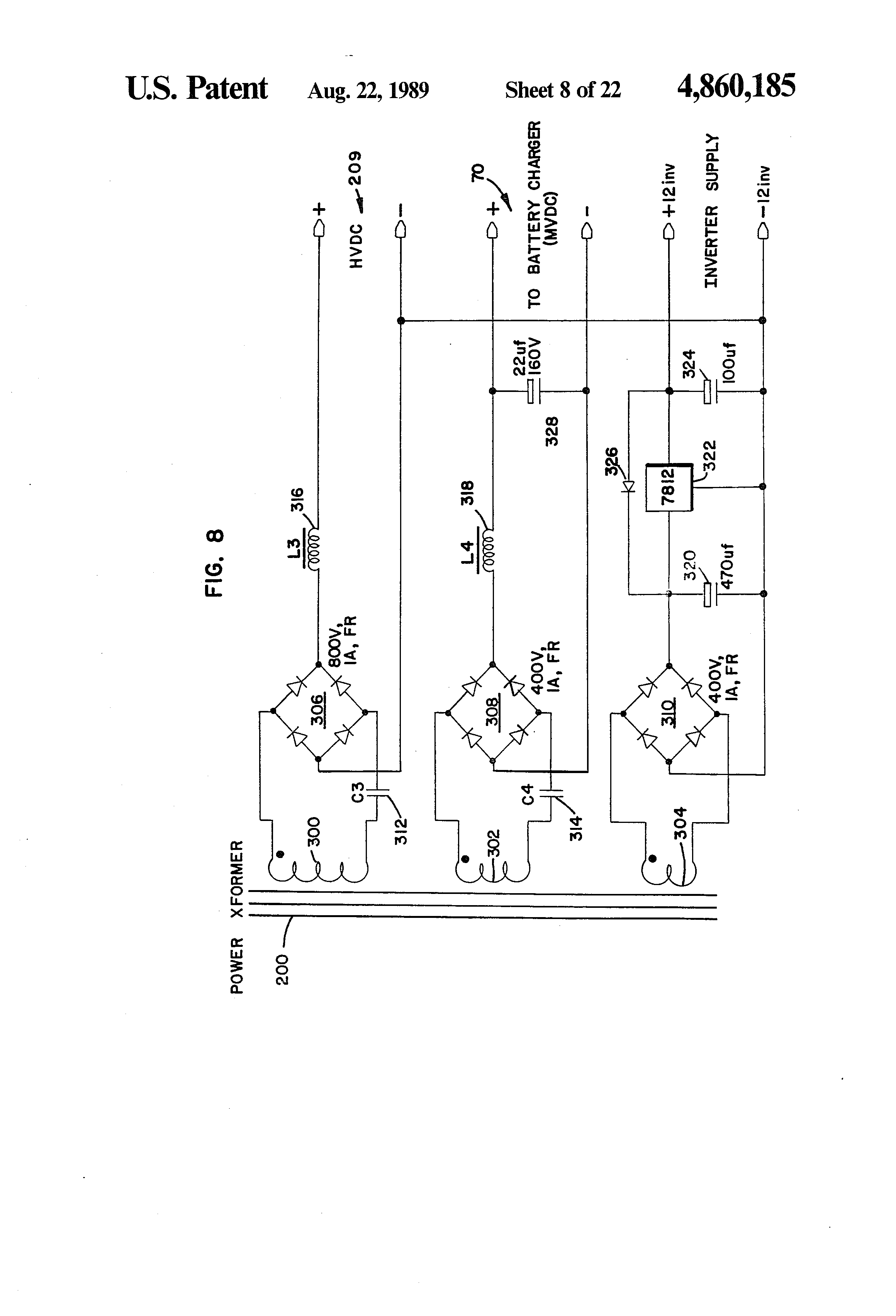 Patent Us4860185 Integrated Uninterruptible Power Supply For 12to 16vdc Regulated Circuit Diagram Drawing