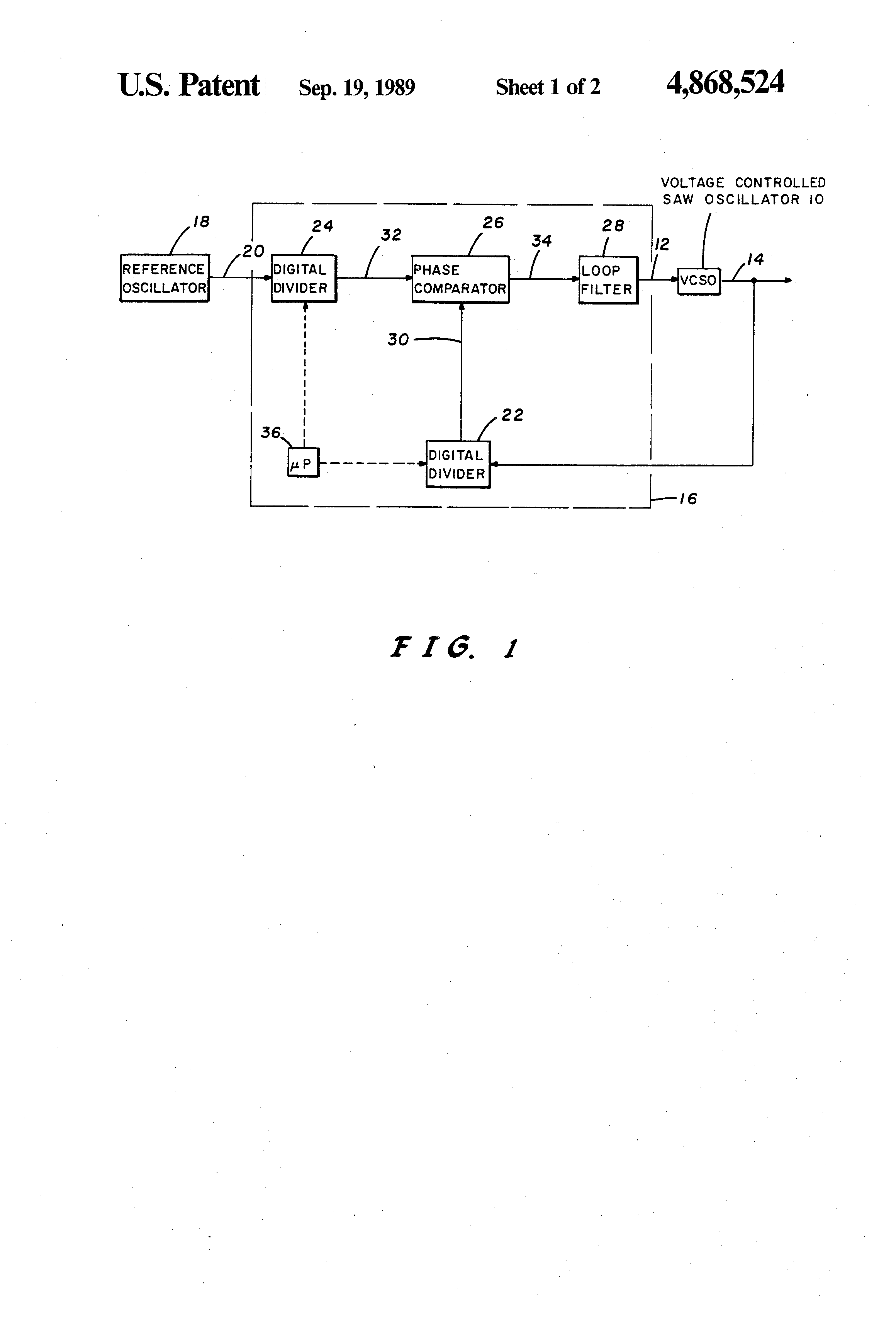 Patent Us4868524 Rf Circuit Utilizing A Voltage Controlled Saw Divider Controlling Drawing