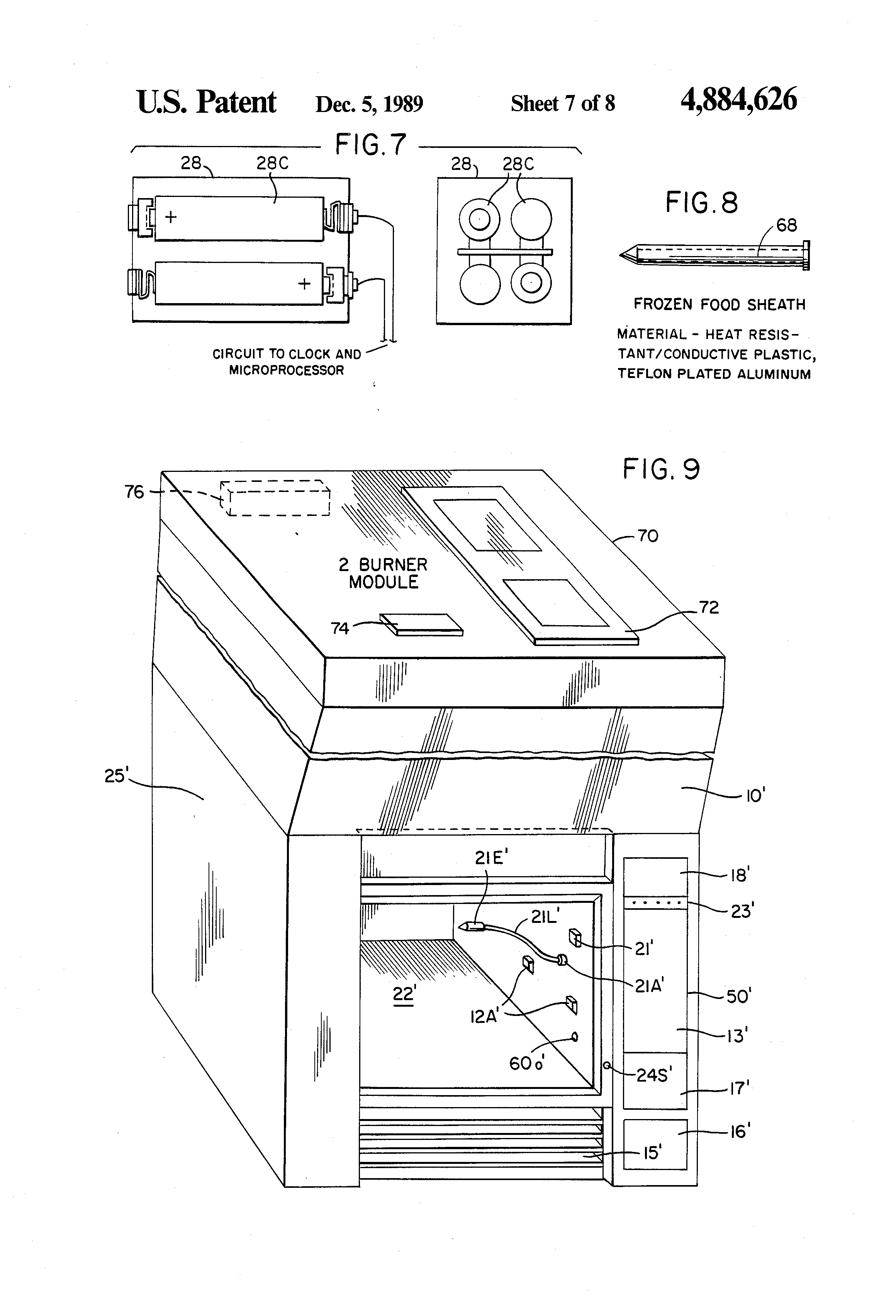 patent us4884626 - combination refrigerator oven