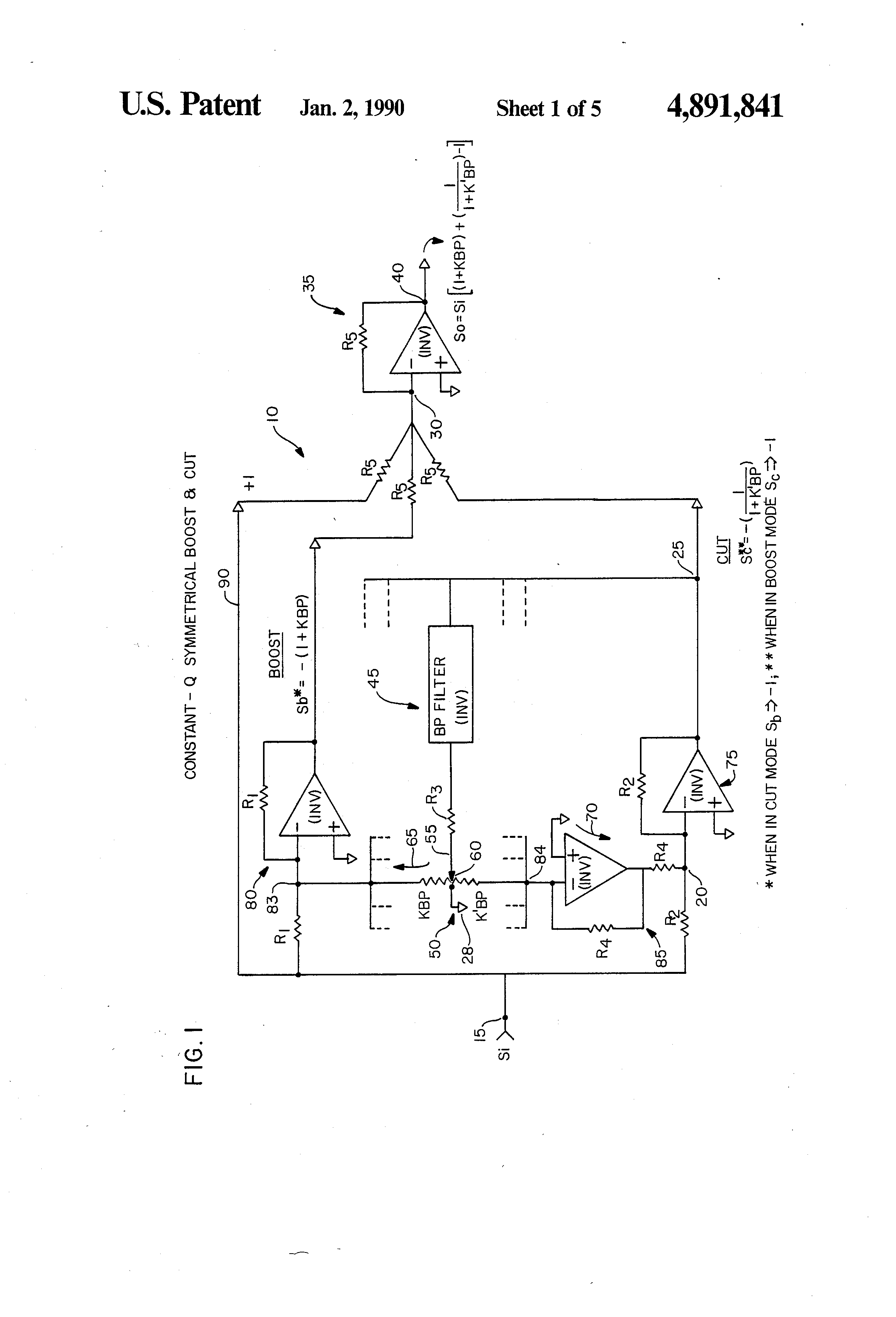 Patent Us4891841 Reciprocal Subtractive Audio Spectrum Equalizer 5 Band Graphic Equaliser Circuit Diagram Drawing