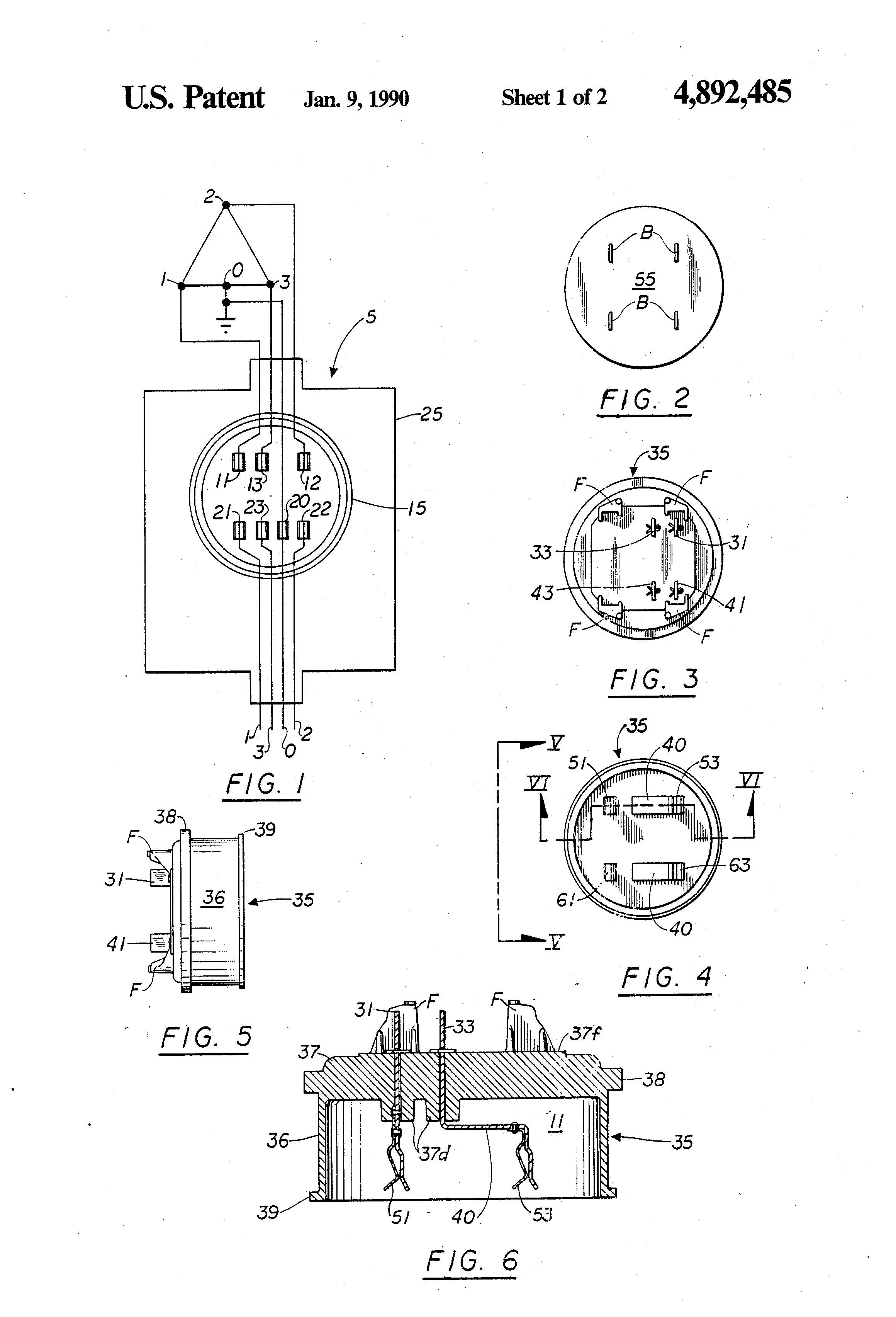 Patent Us4892485 Adapter Plate For Converting A Three