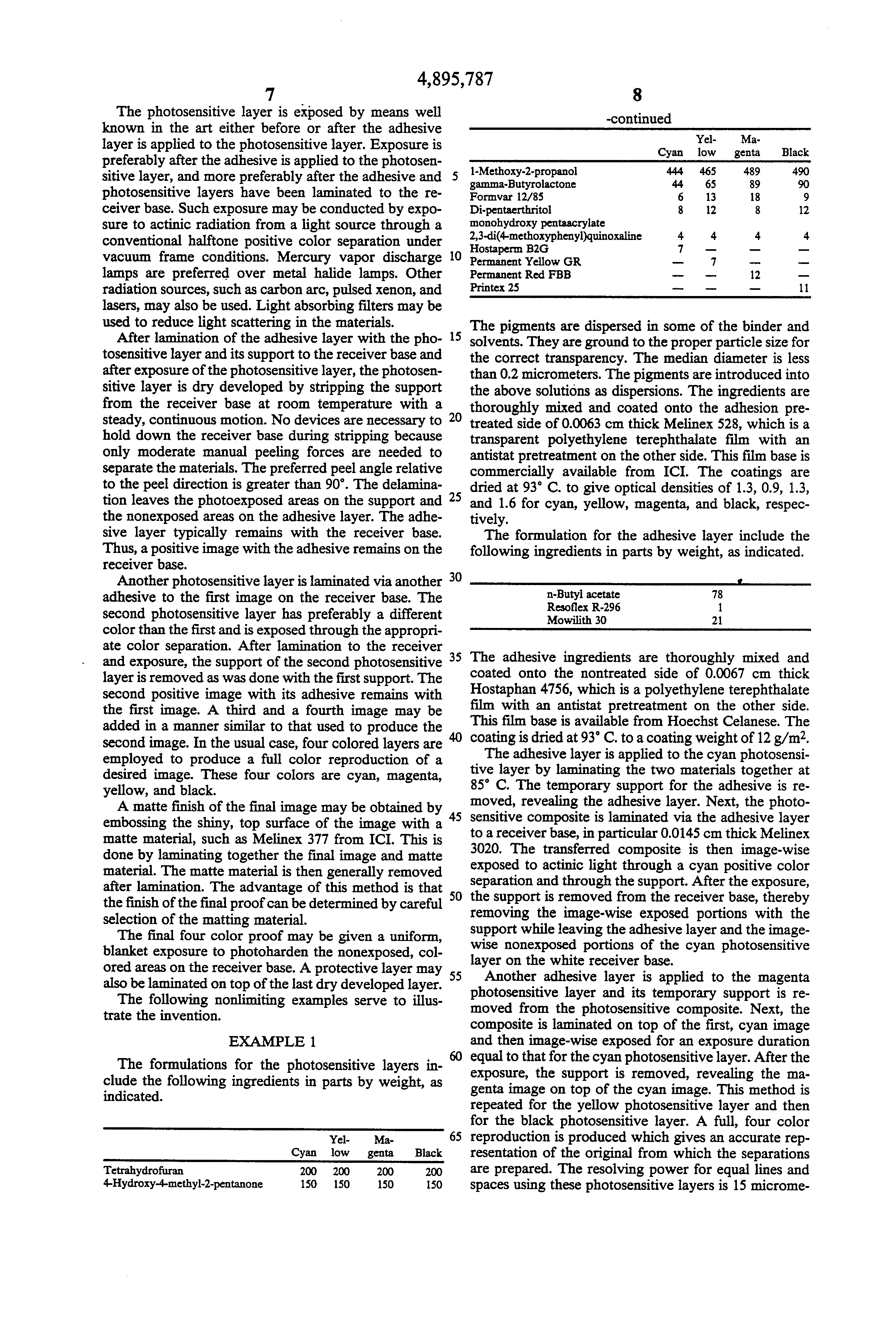 Patent US4895787 - Photopolymerizable positive working, peel