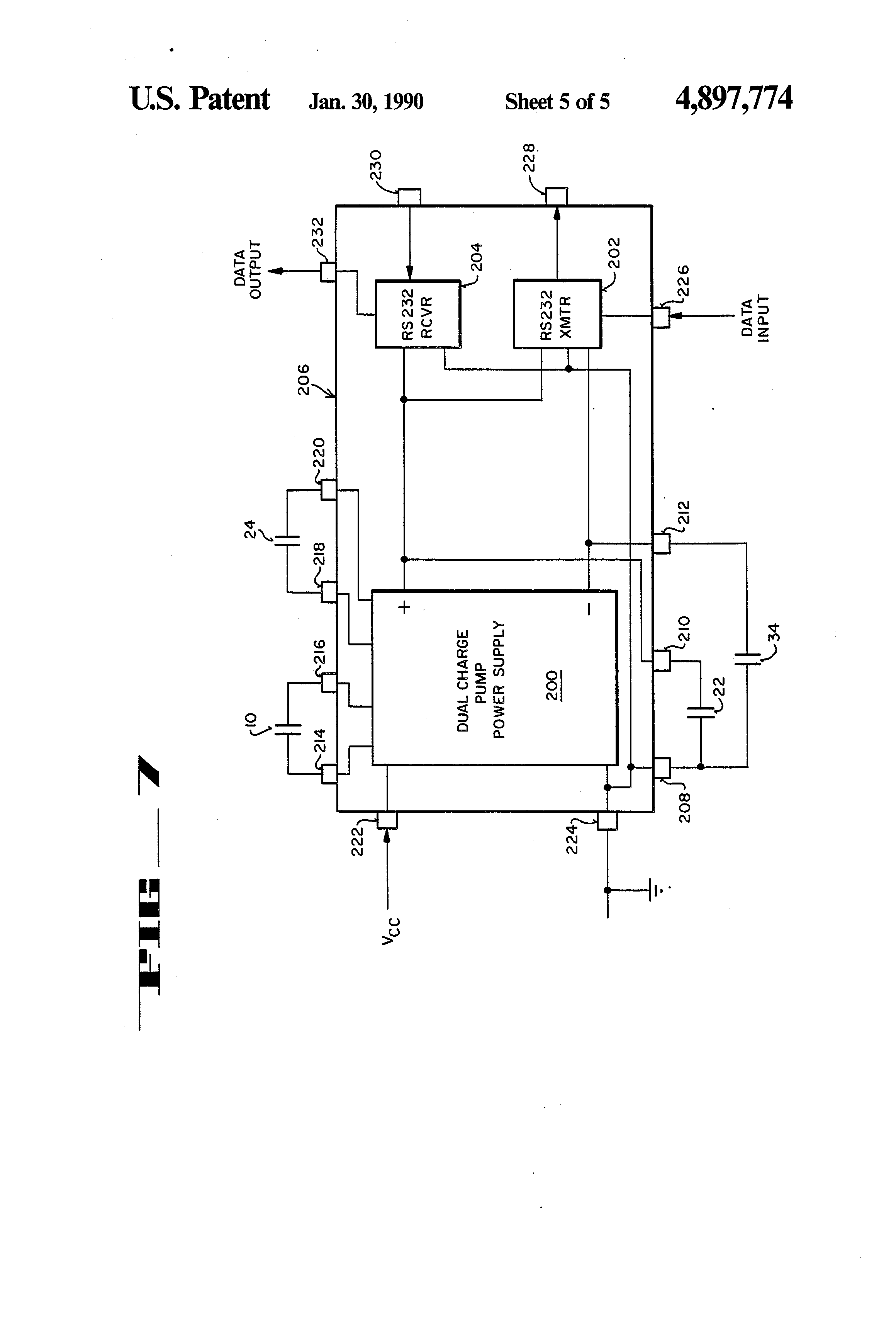 Patent Us4897774 Integrated Dual Charge Pump Power Supply And Rs Positive Voltage Doubling Circuit Using Icl7660 Doubler Drawing