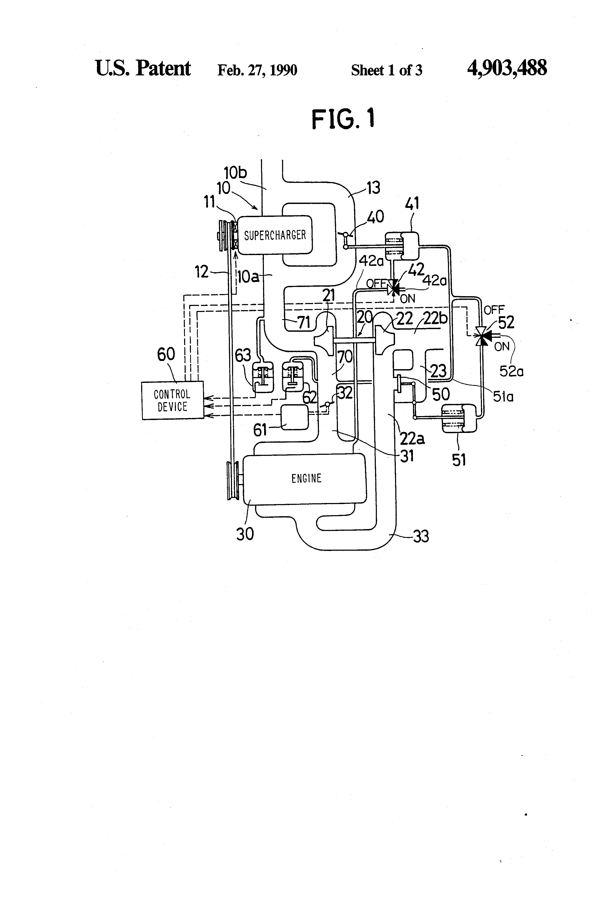 Patent Us4903488 Turbocharged Engine Including An Driven Cat Turbocharger Diagram Of Drawing