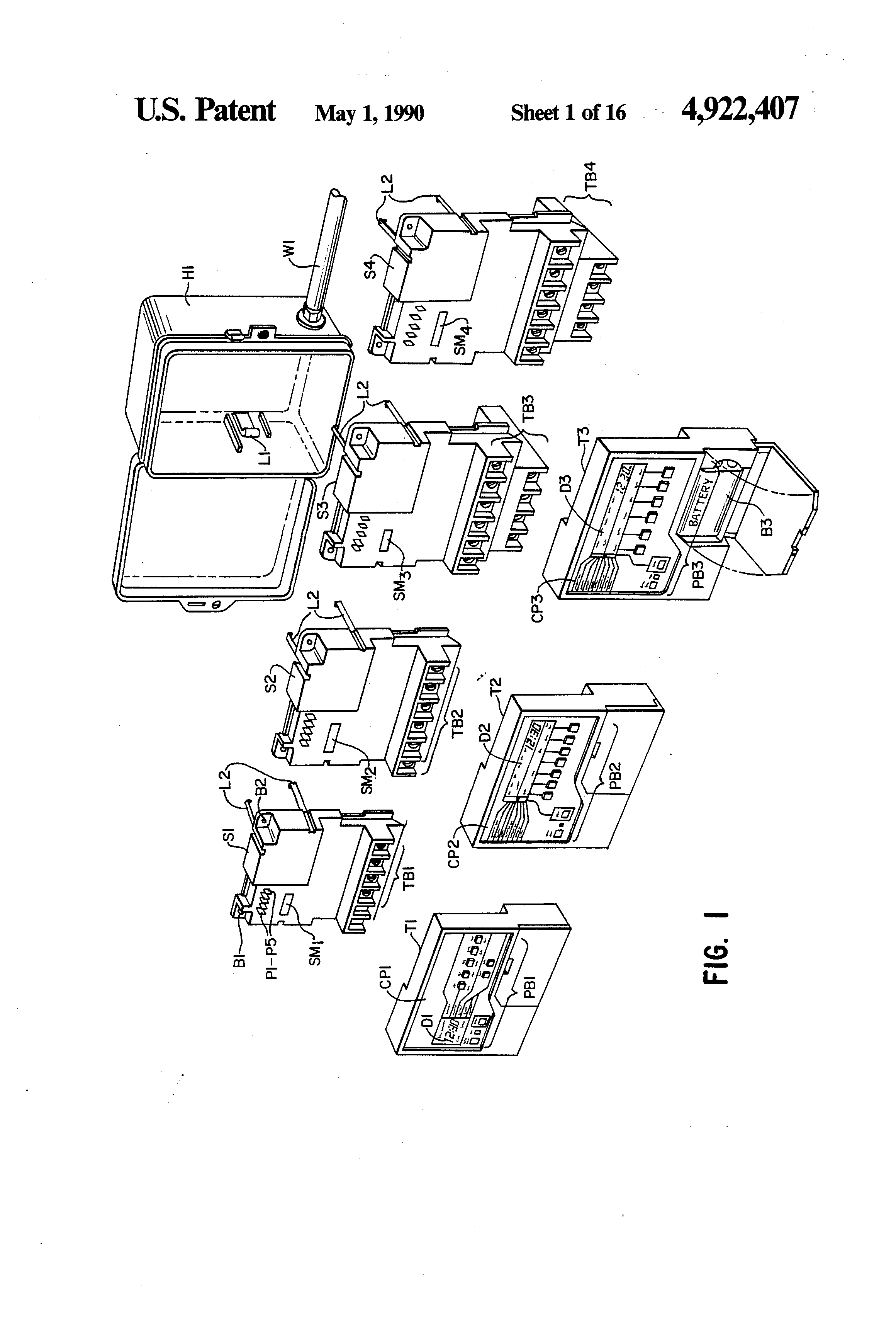 Patent Us4922407 Modular Electronic Timer Switch System