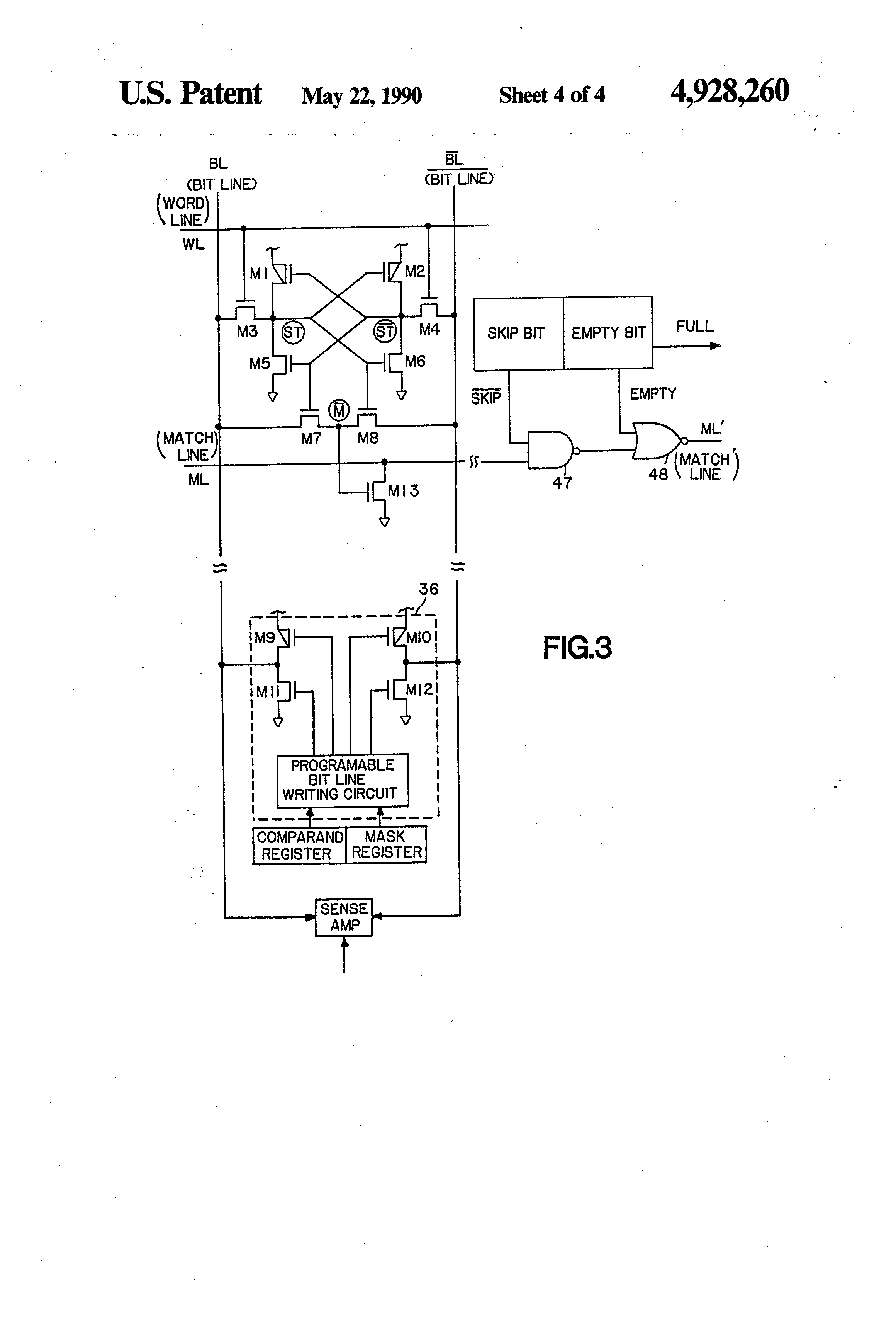 Patent Us4928260 Content Addressable Memory Array With Priority Logic Diagram Of 8 To 3 Encoder Drawing