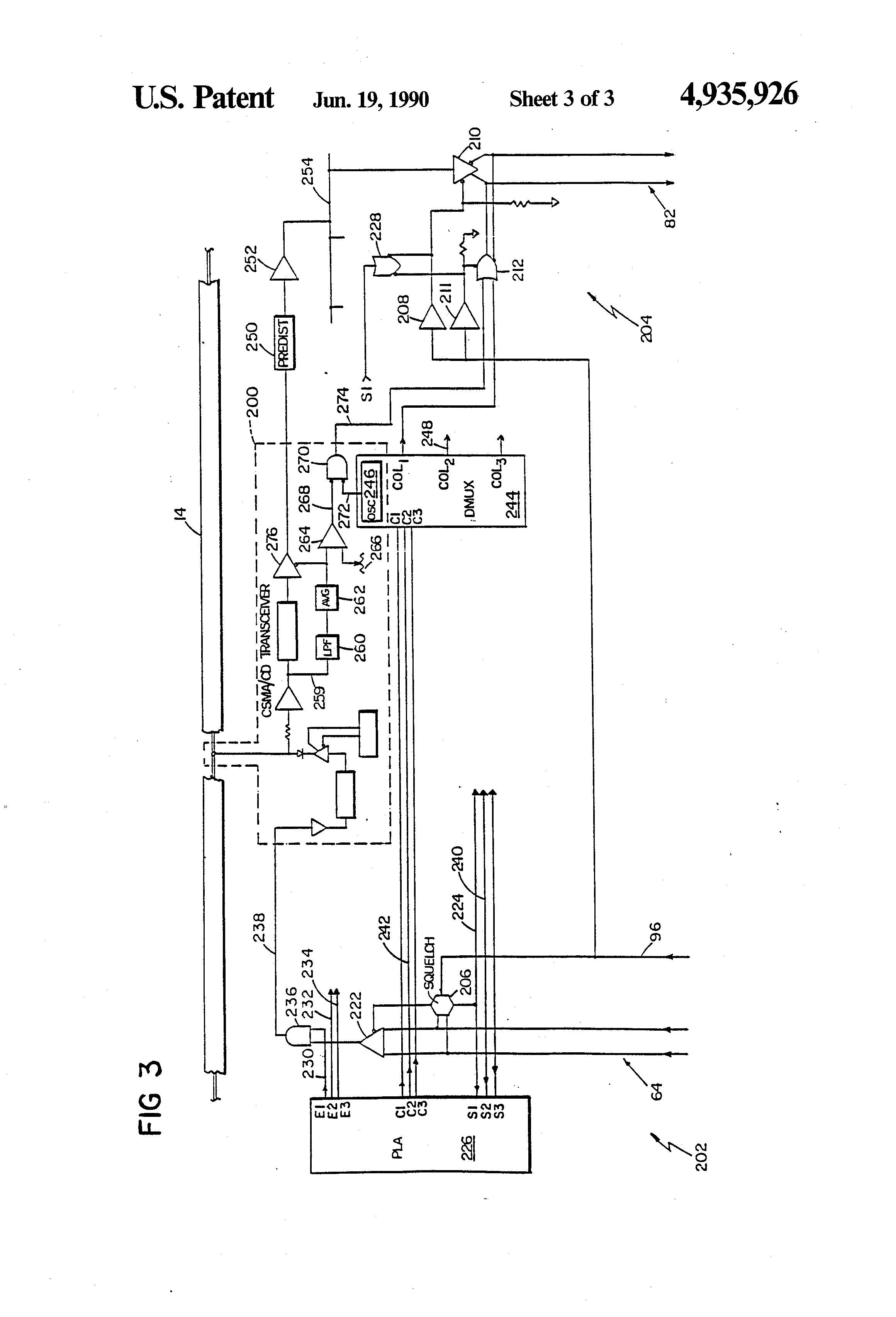 patent us4935926 - networking circuitry