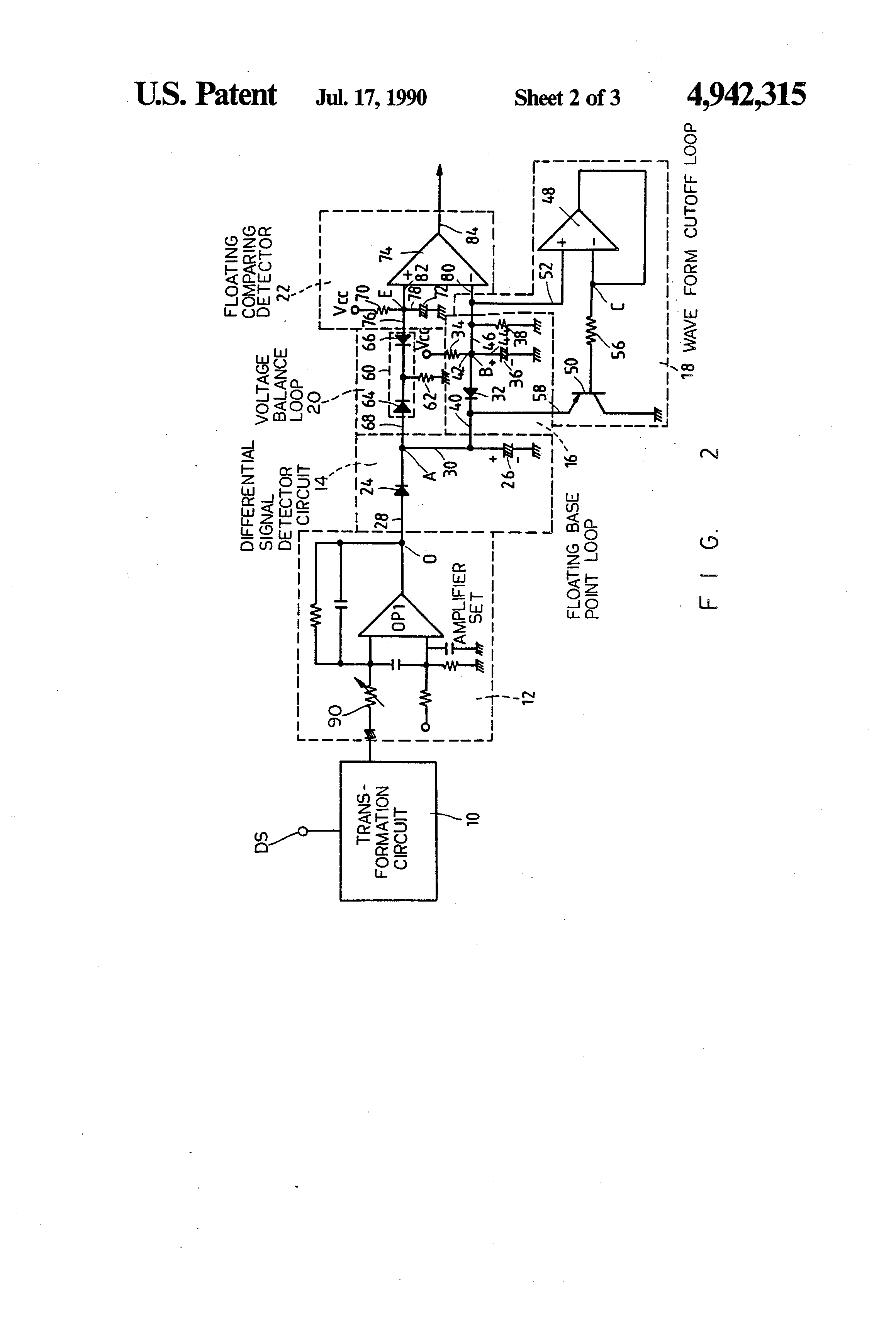 Patent US4942315 - Base point floating cut off wave form differential
