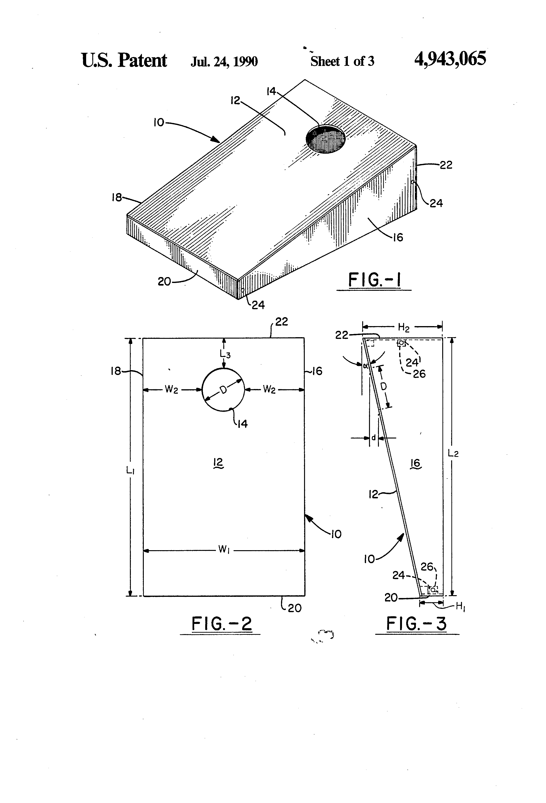 patent us4943065 - bean bag toss game targets