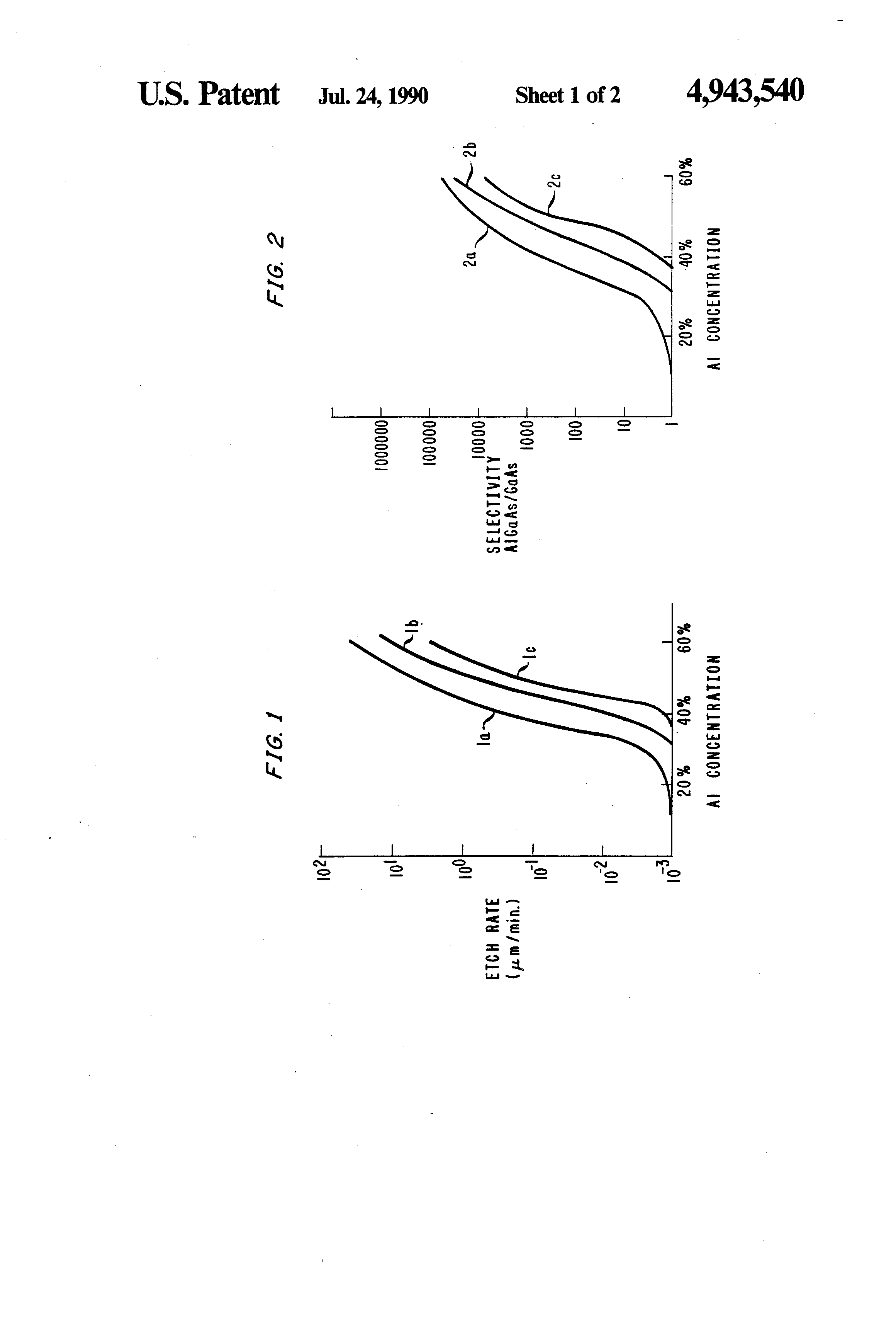 Brevet US4943540 - Method for selectively wet etching