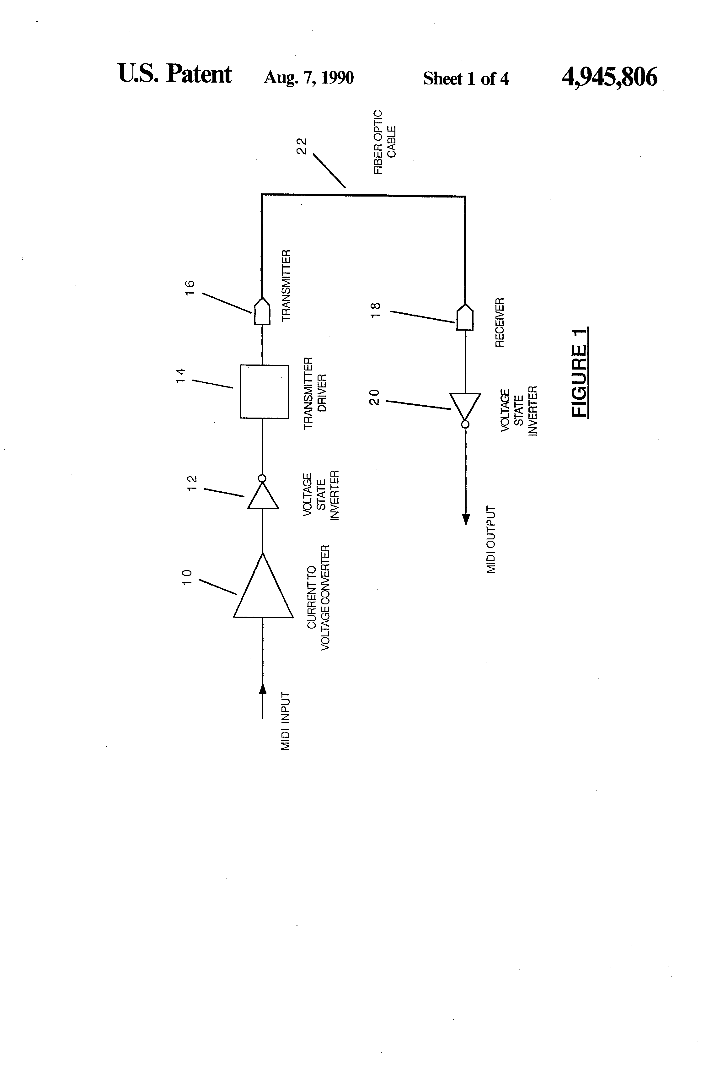 Patent Us4945806 Fiber Optic Musical Instrument Digital Interface Installation Diagram Drawing