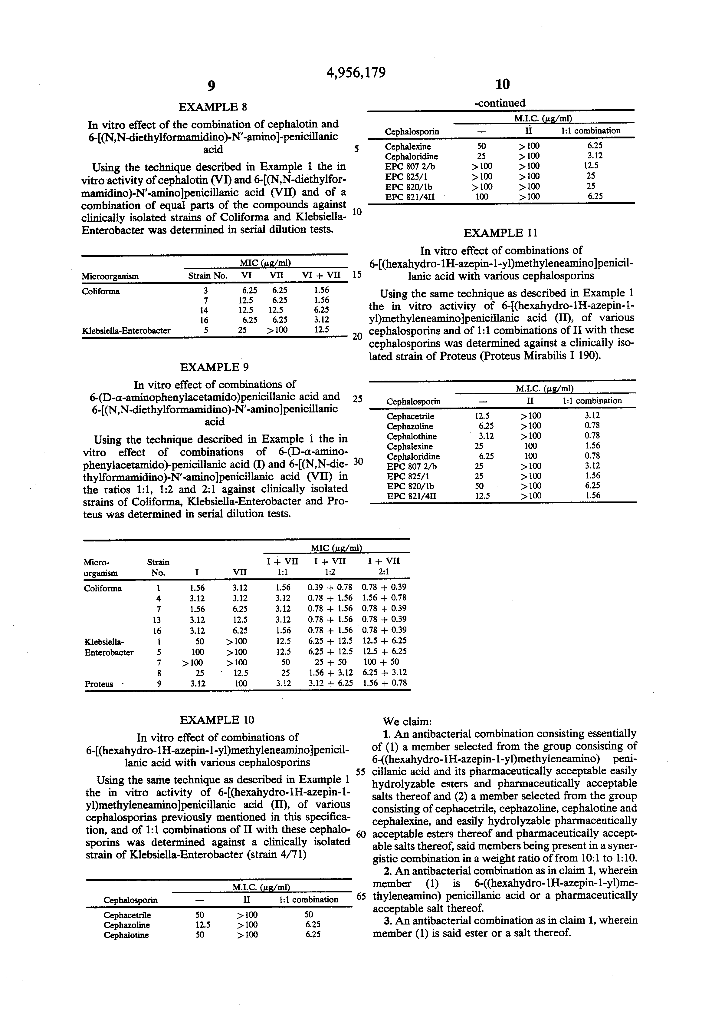 Patent US4956179 - Antibacterial combination of penicillin