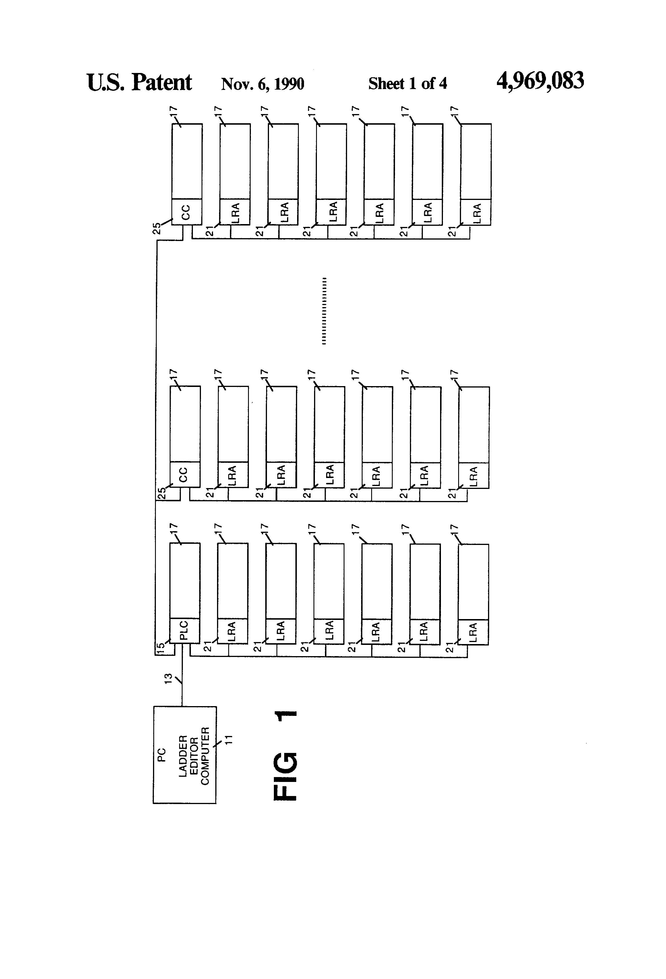 Patent Us4969083 Network Programmable Logic Controller System Ladder Programs Internal Relays Controllers Drawing