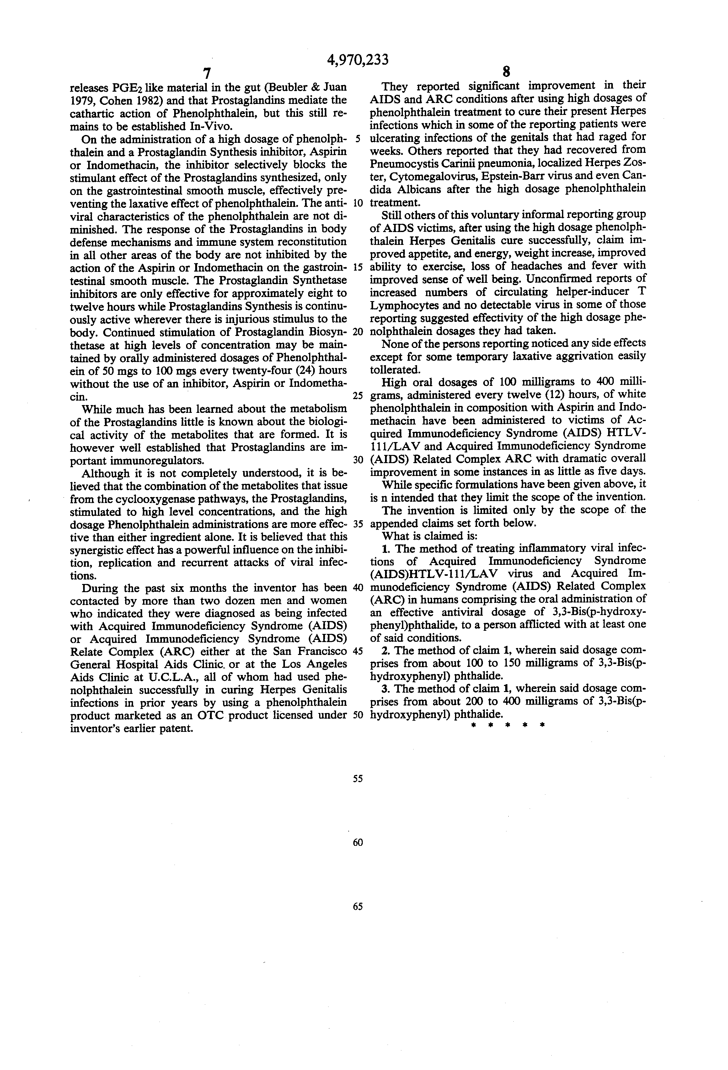 Patent US4970233 - Treatment of Acquired Immunodeficiency ...