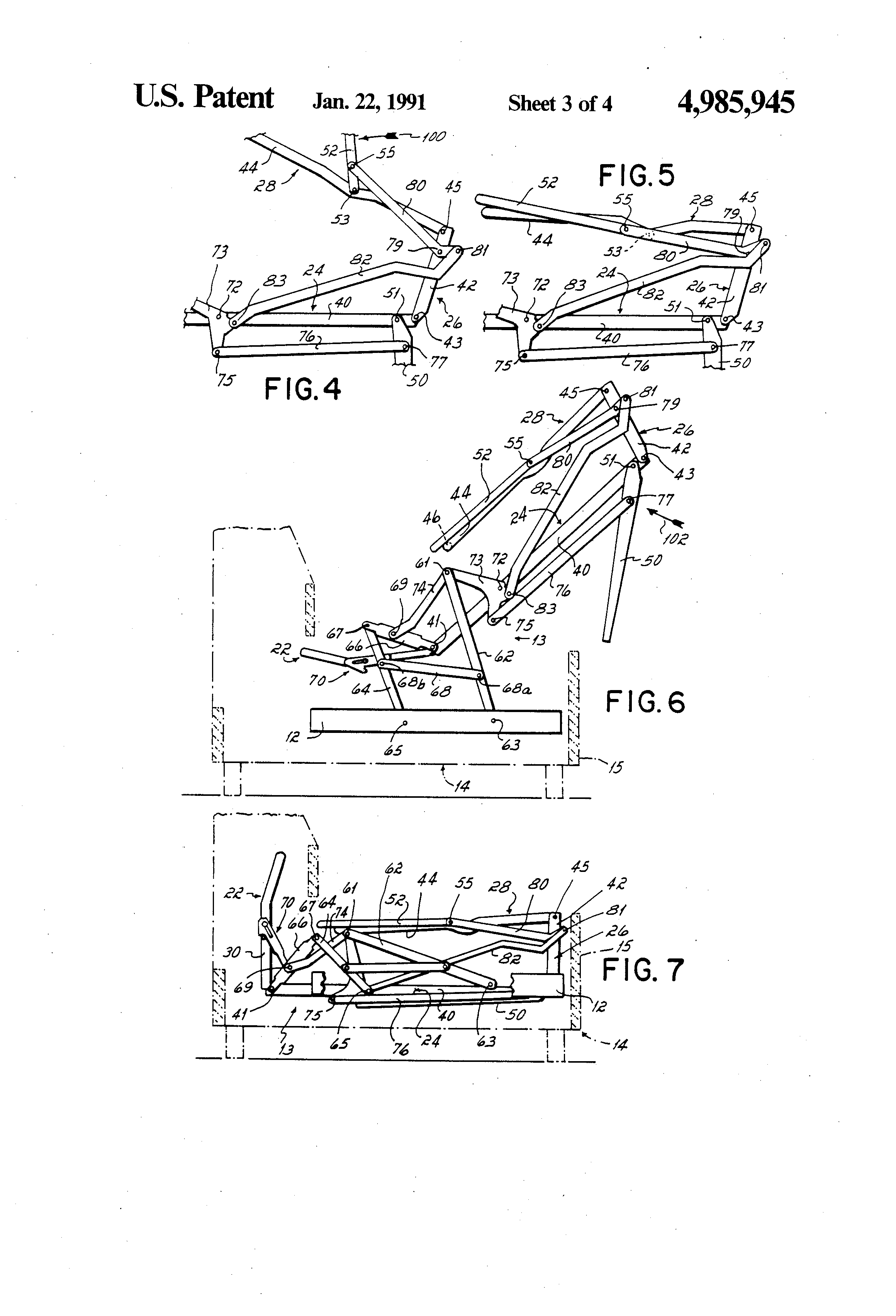 Patent Us4985945 Double Lock Sofa Sleeper Mechanism