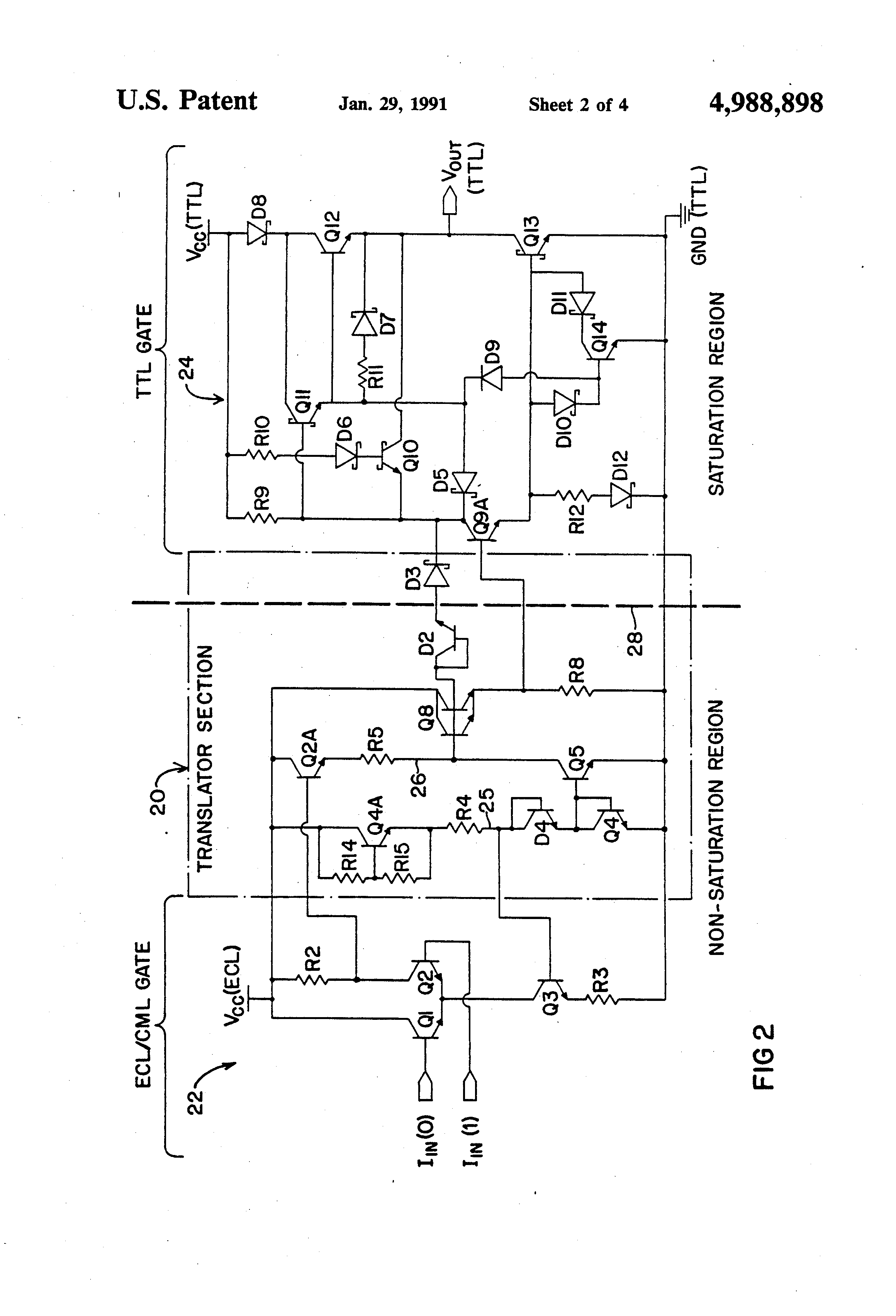 Patent Us4988898 High Speed Ecl Cml To Ttl Translator Circuit This Is A Transistor Logic Or Gate Using Drawing