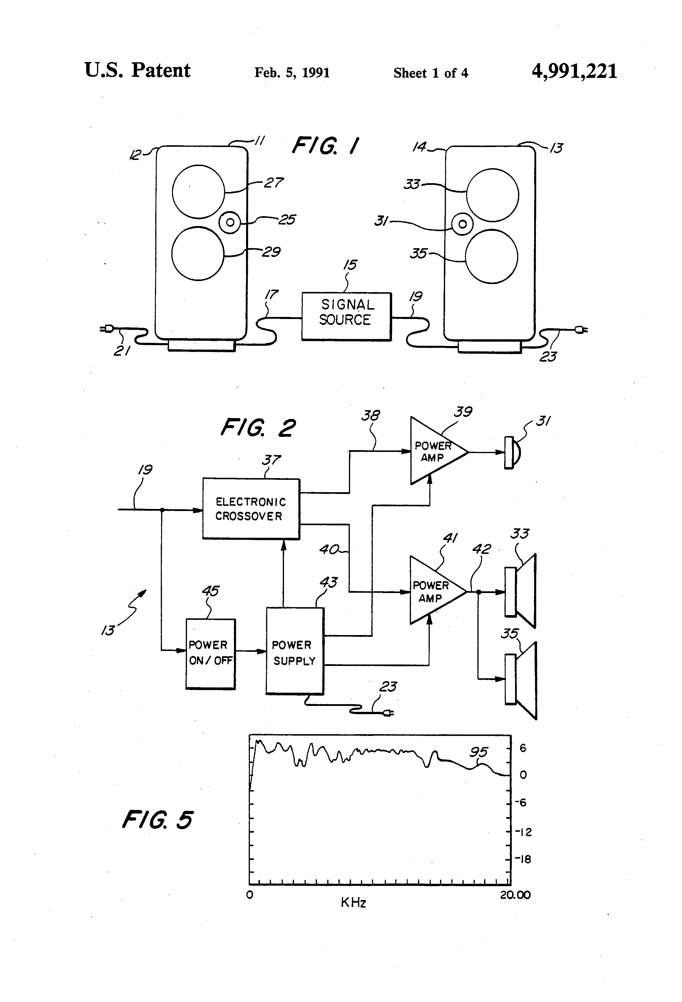 Patent Us4991221 Active Speaker System And Components Therefor Crossover Circuit Diagram On Two Way Drawing