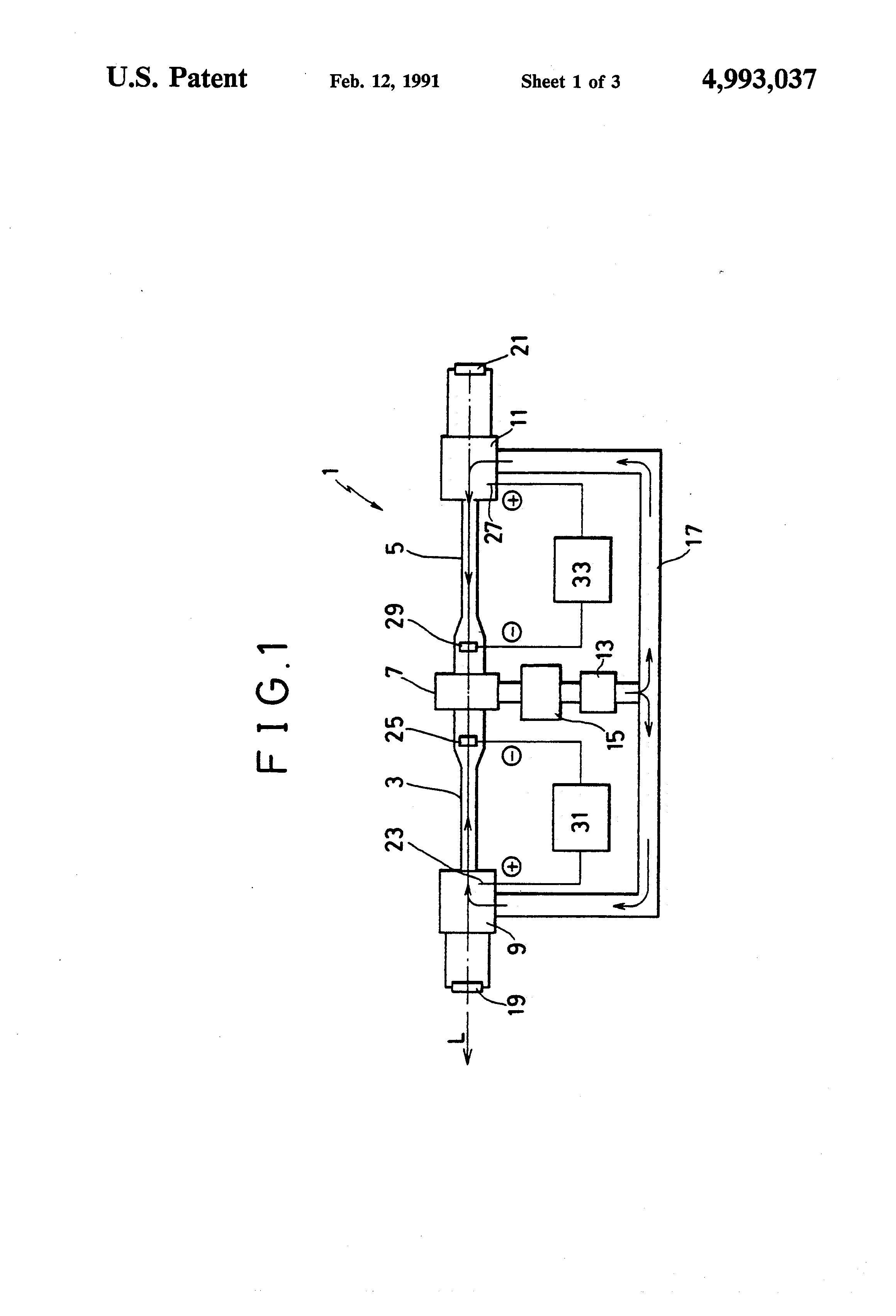 Patent US4993037 - High speed axial flow gas laser generator