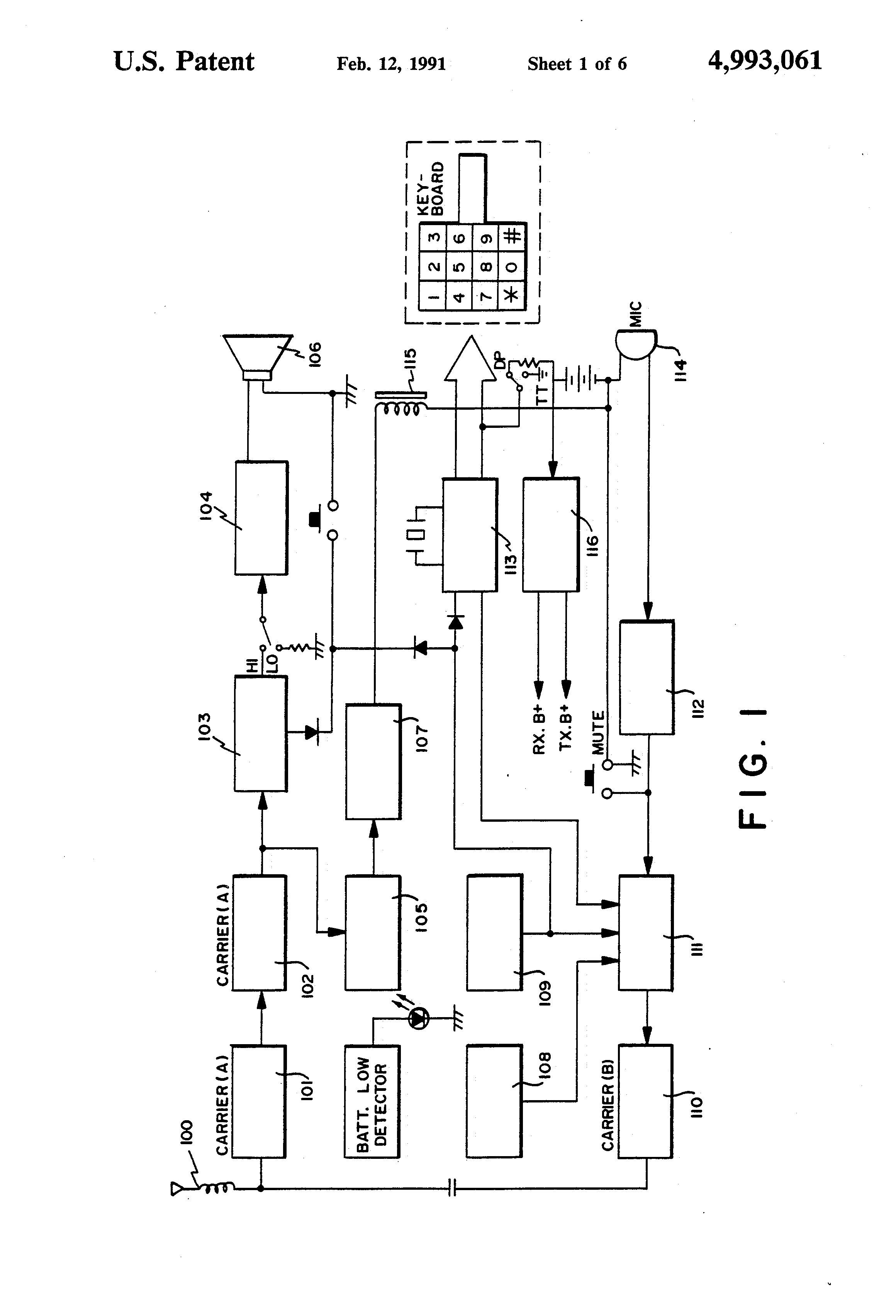 Us4993061a Portable Miniature High Fidelity Stereo Tape Player And Circuit Diagram Wireless Cordless Radio Telephone System Google Patents
