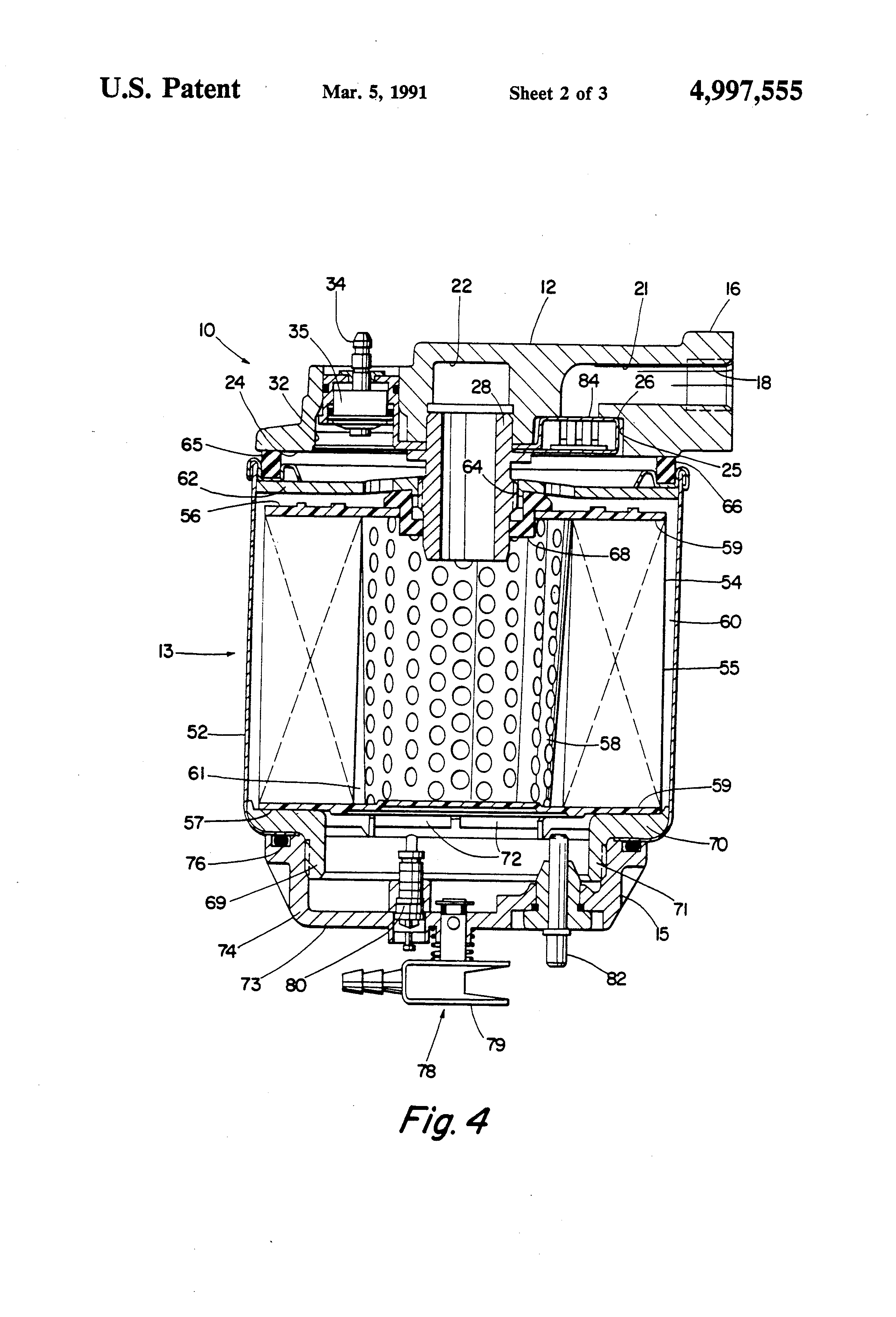 patent us4997555 - fuel filter assembly with heater