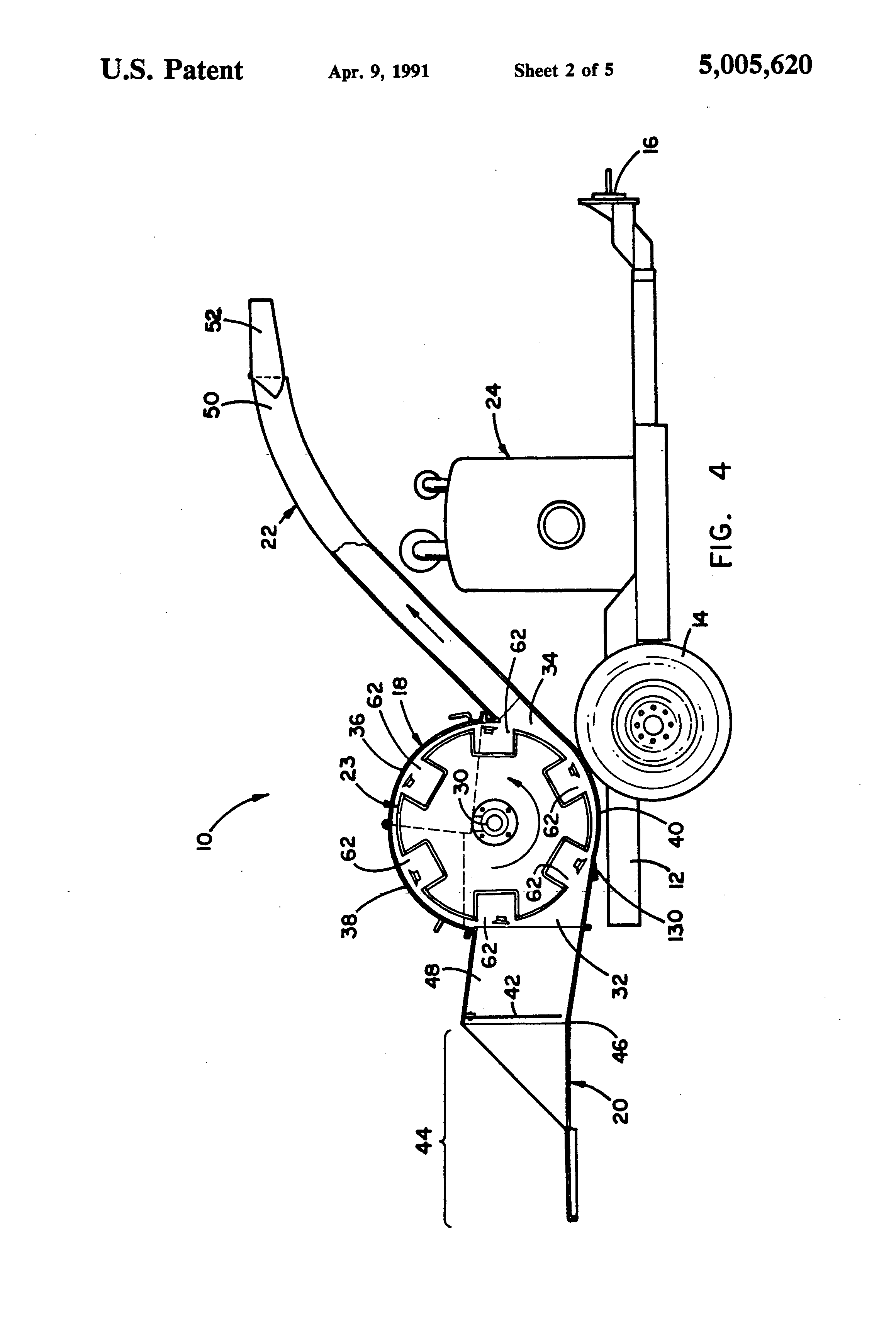 patent us5005620 - drum-type wood chipper