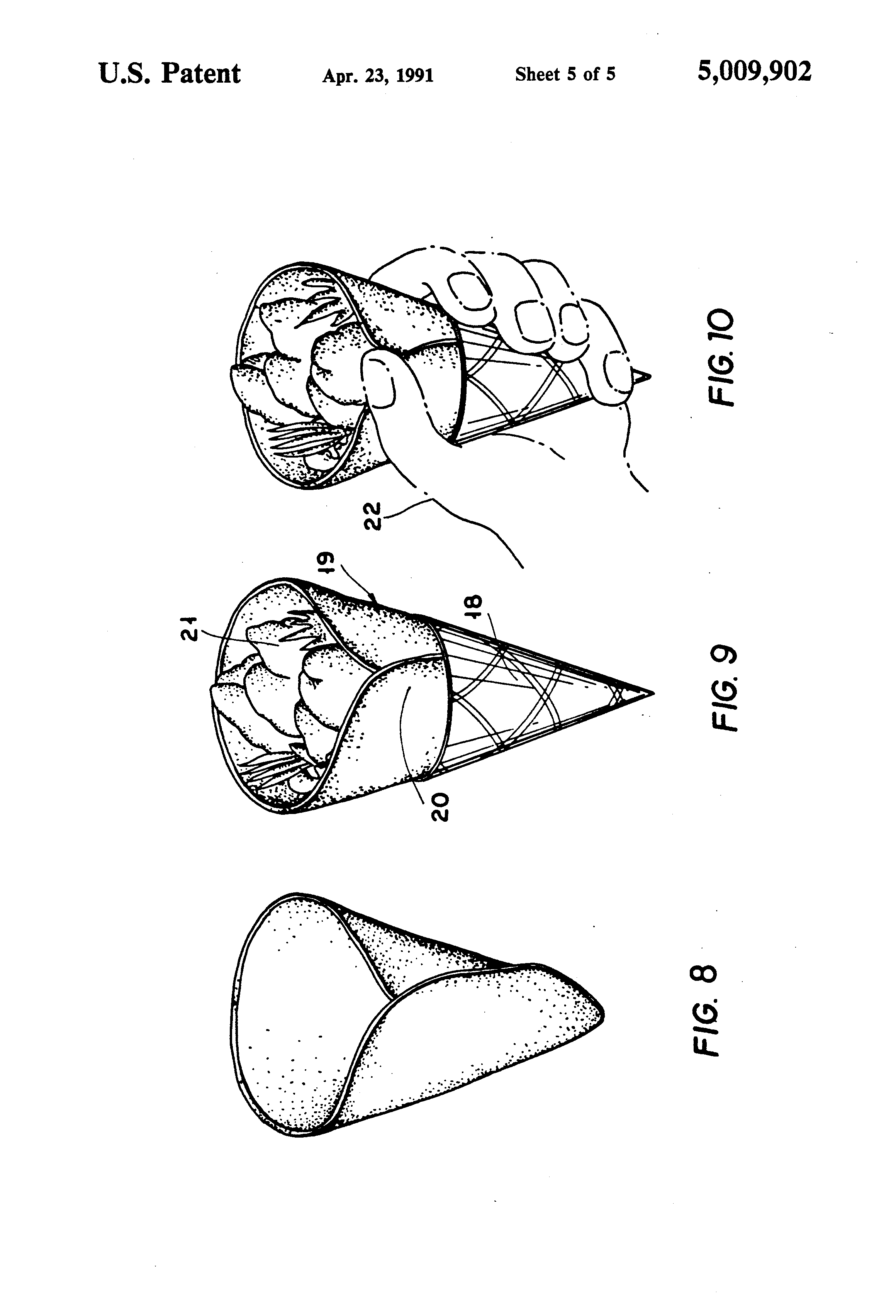Patent Us5009902 Conical Taco Shell Google Patents