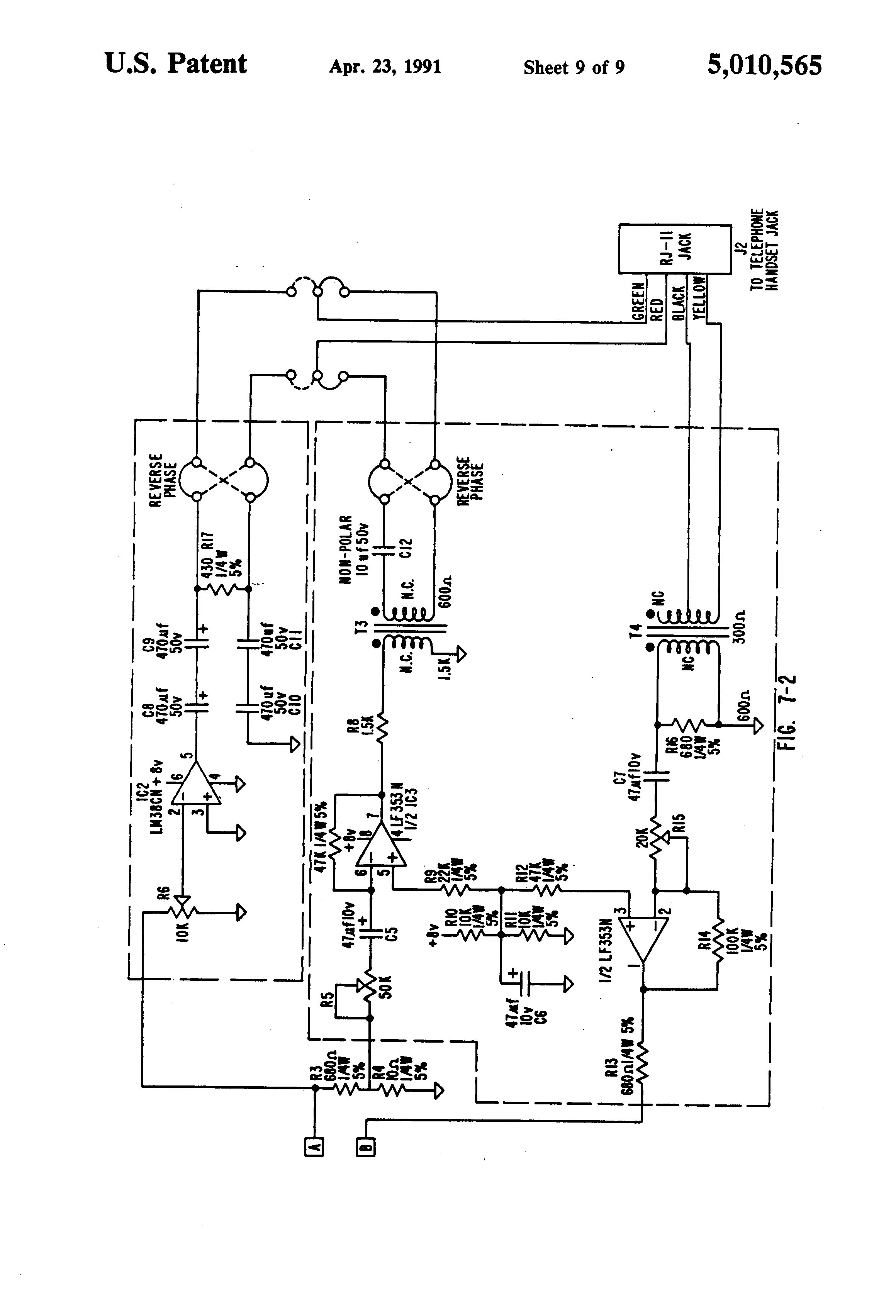 Patent Us5010565 Apparatus And Method For Adding Cordless Handset Uniden Headset Wiring Diagram Drawing