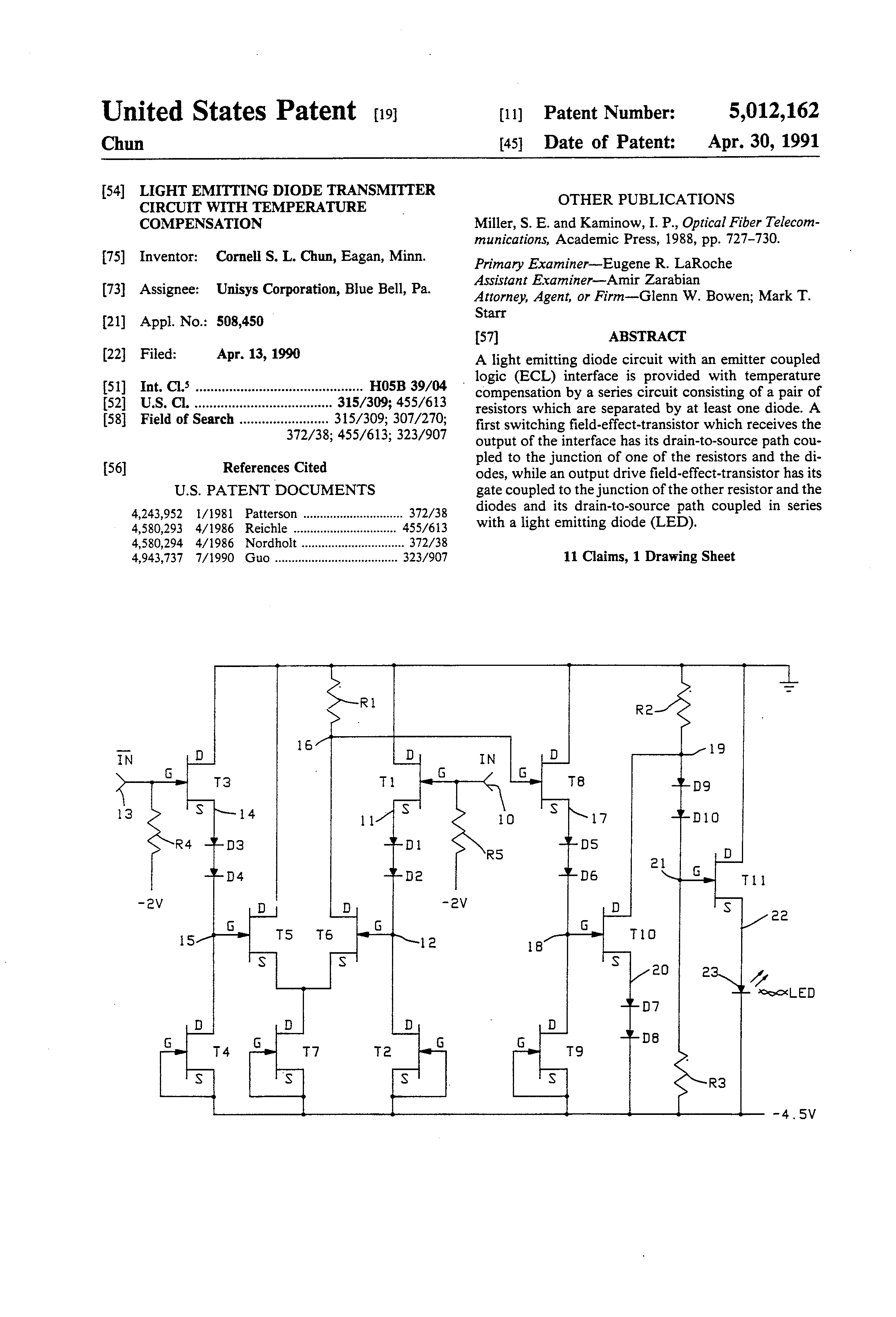 Patent Us5012162 Light Emitting Diode Transmitter Circuit With Has A Pair Of Laser Diodes And Receiver Drawing