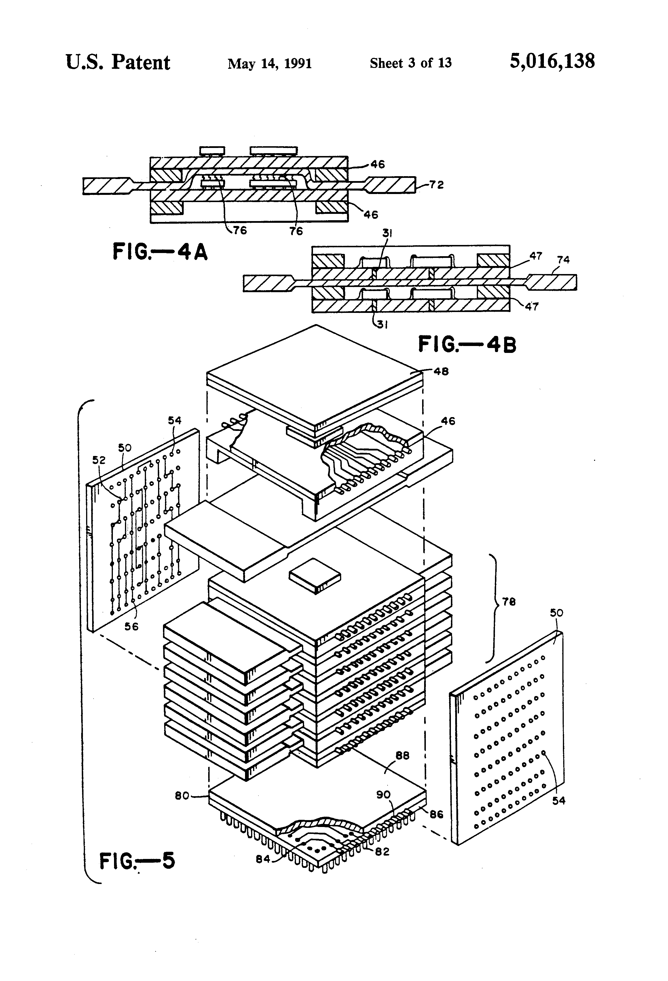 patent us5016138 - three dimensional integrated circuit package