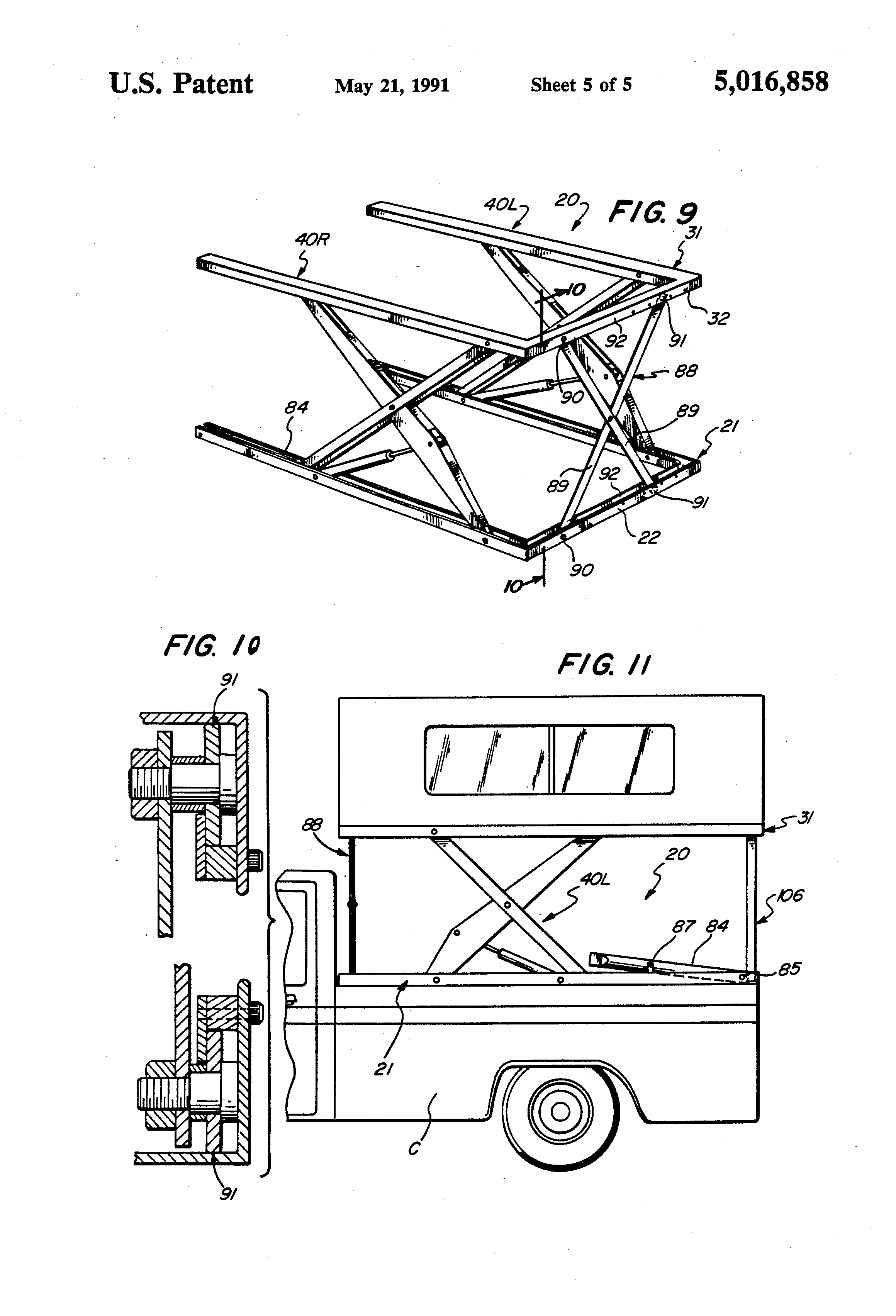 Patent Us5016858 Hydraulic Lift Mechanism For Camper