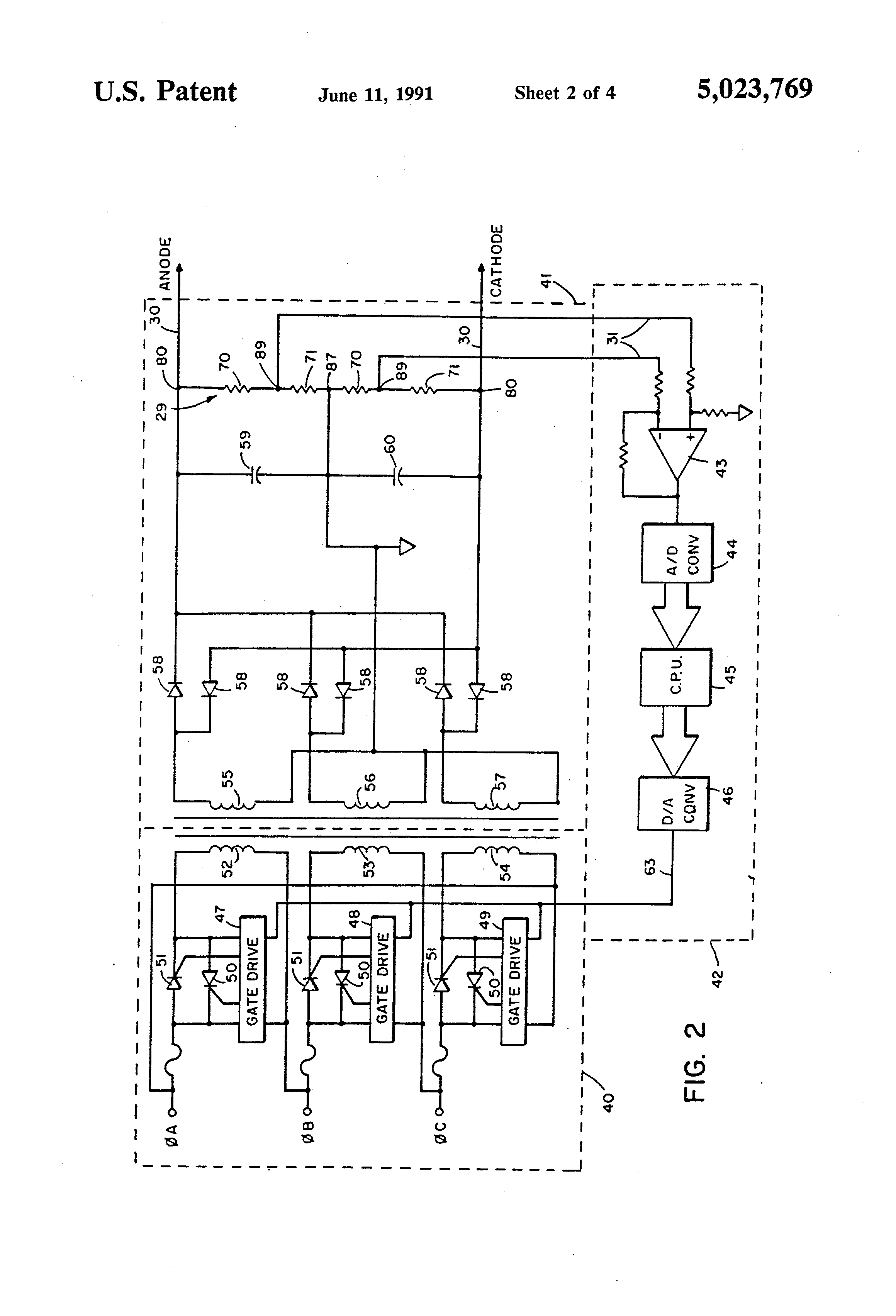 Patent Us5023769 X Ray Tube High Voltage Power Supply With Control Divider Controlling Drawing