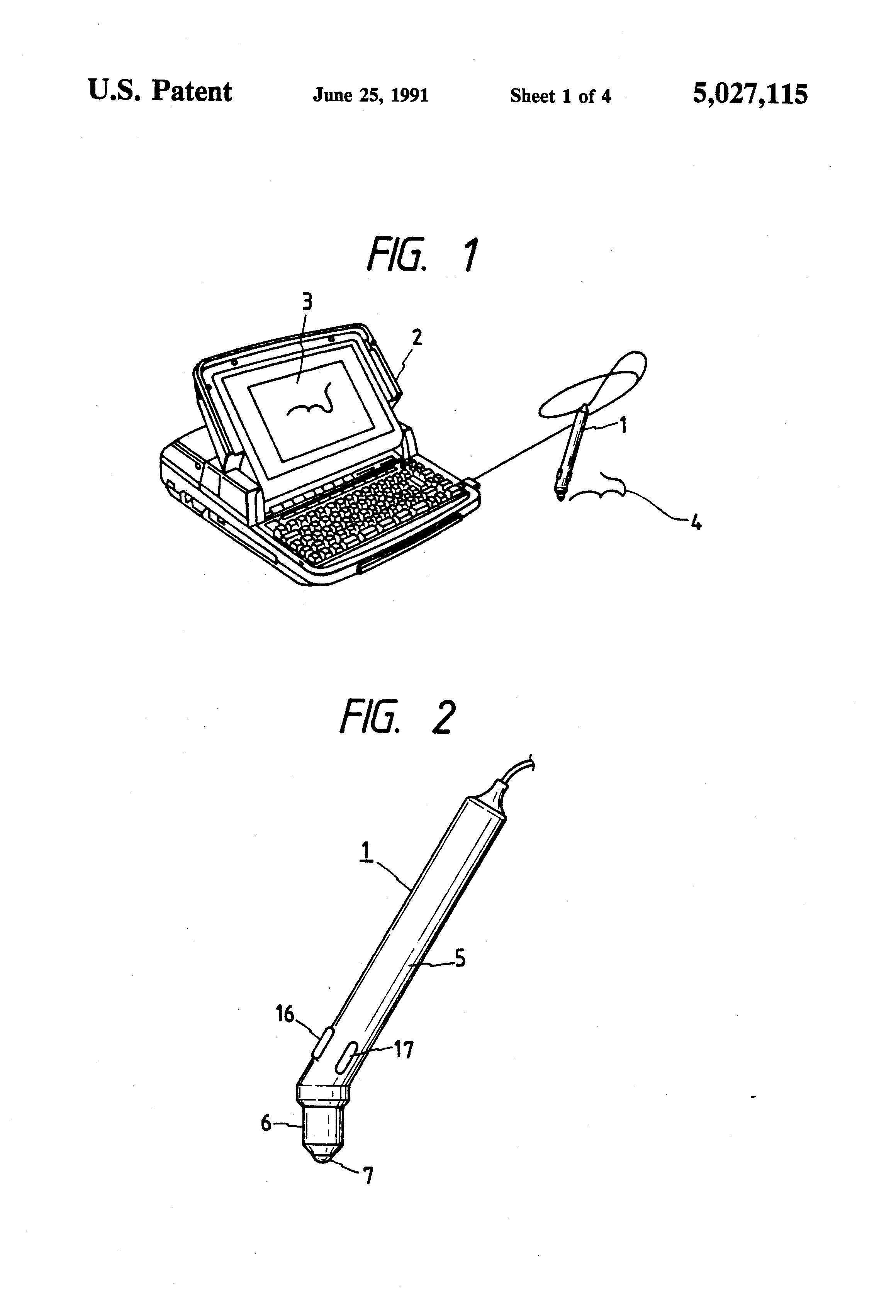 patent us5027115 - pen-type computer input device