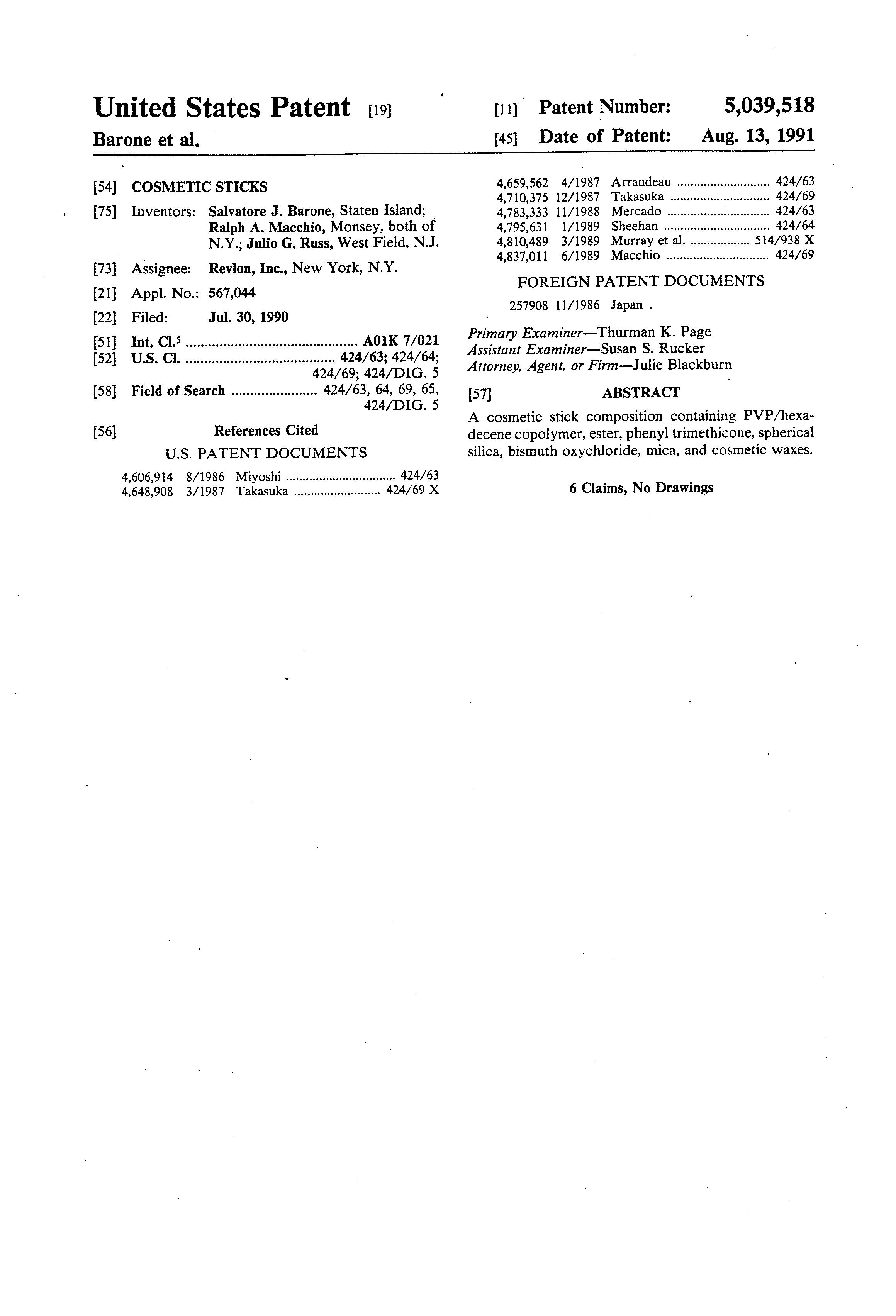 Patent US5039518 - Cosmetic sticks - Google Patents