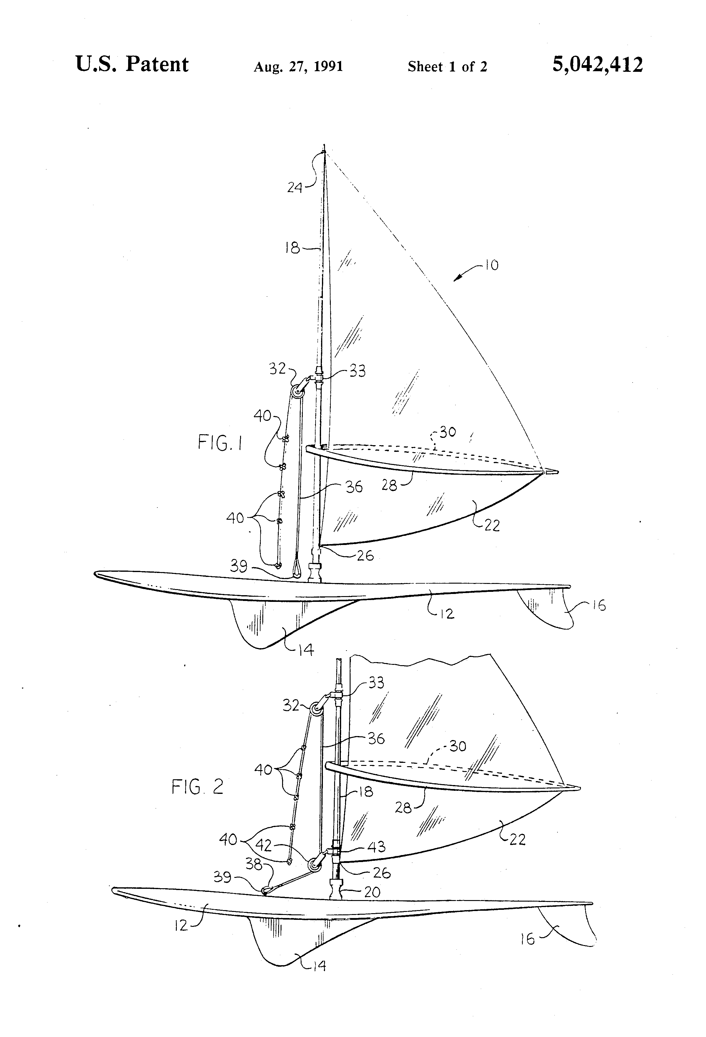 Patent US5042412 - Windsurfer sail and mast righting device