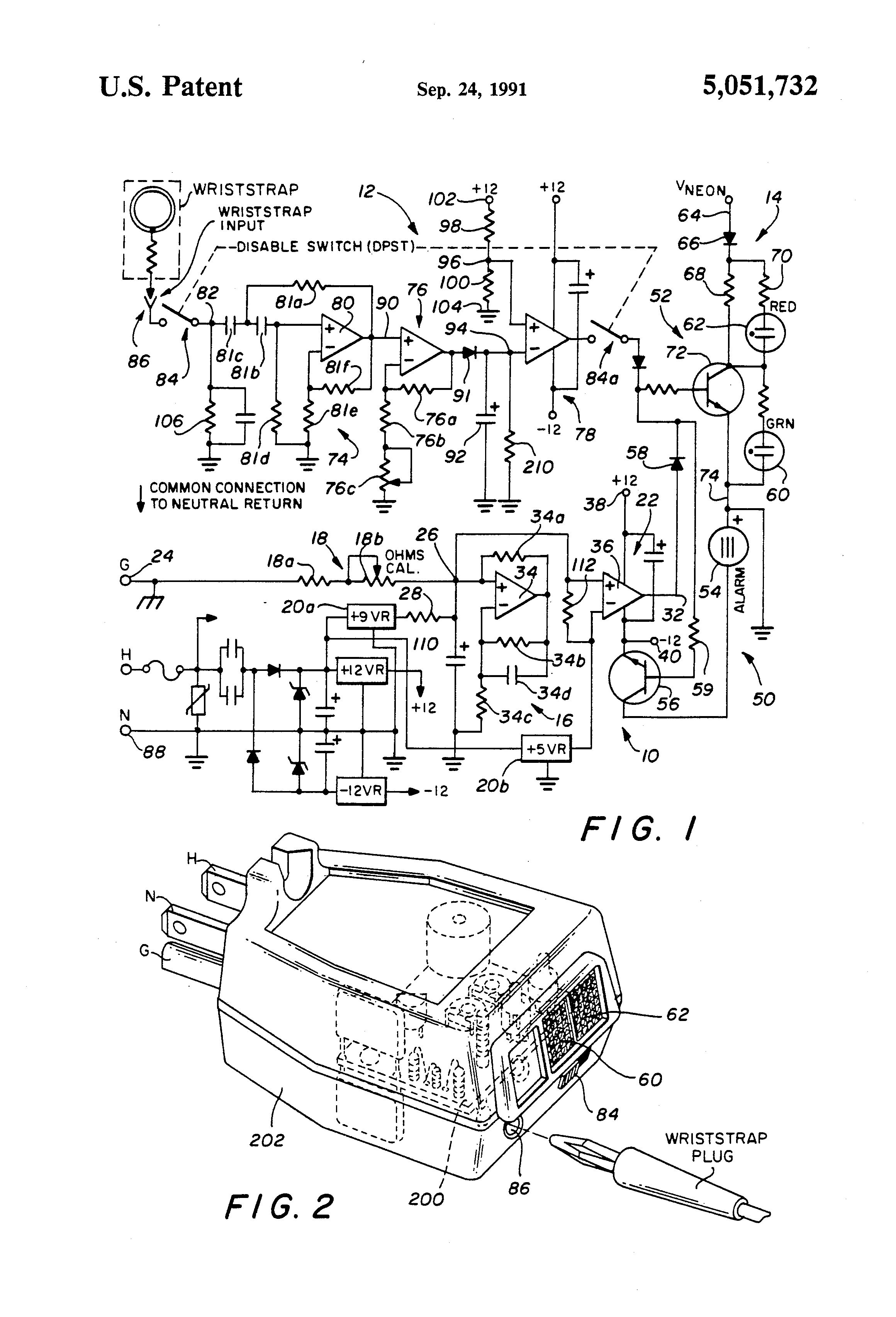 patent us5051732 - power outlet ground integrity and wriststrap monitor circuit
